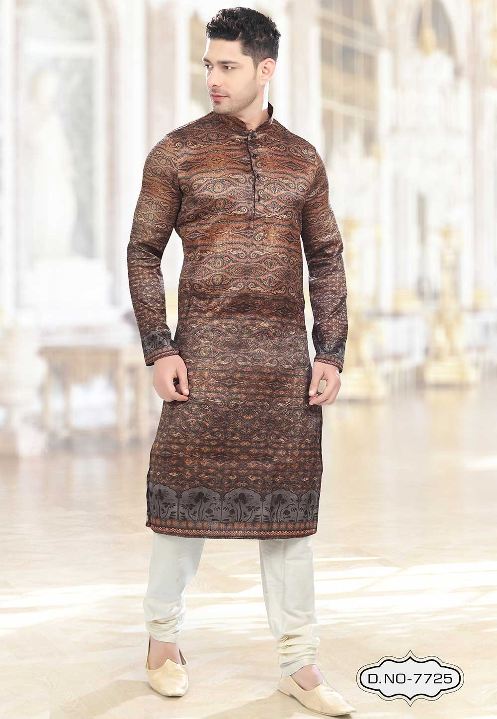 Buy kurta pyjama online in Brown,Orange Colour Kurta Pajama