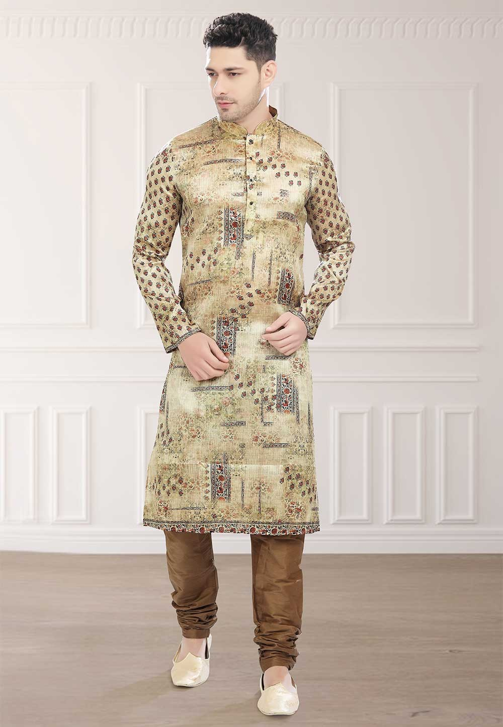 Buy designer kurta pajama in Beige Colour