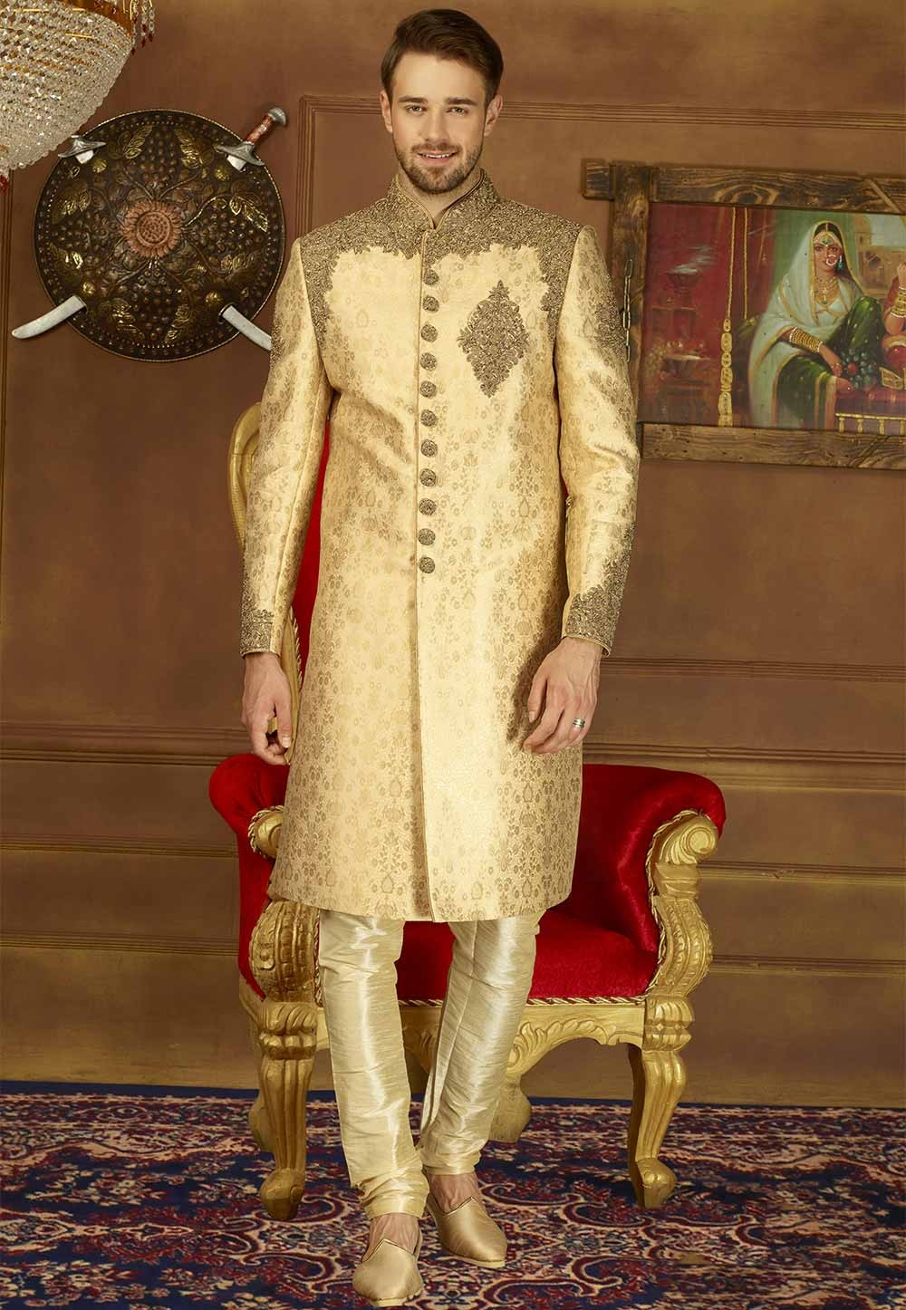 Buy Beige Color Brocade sherwani online for men