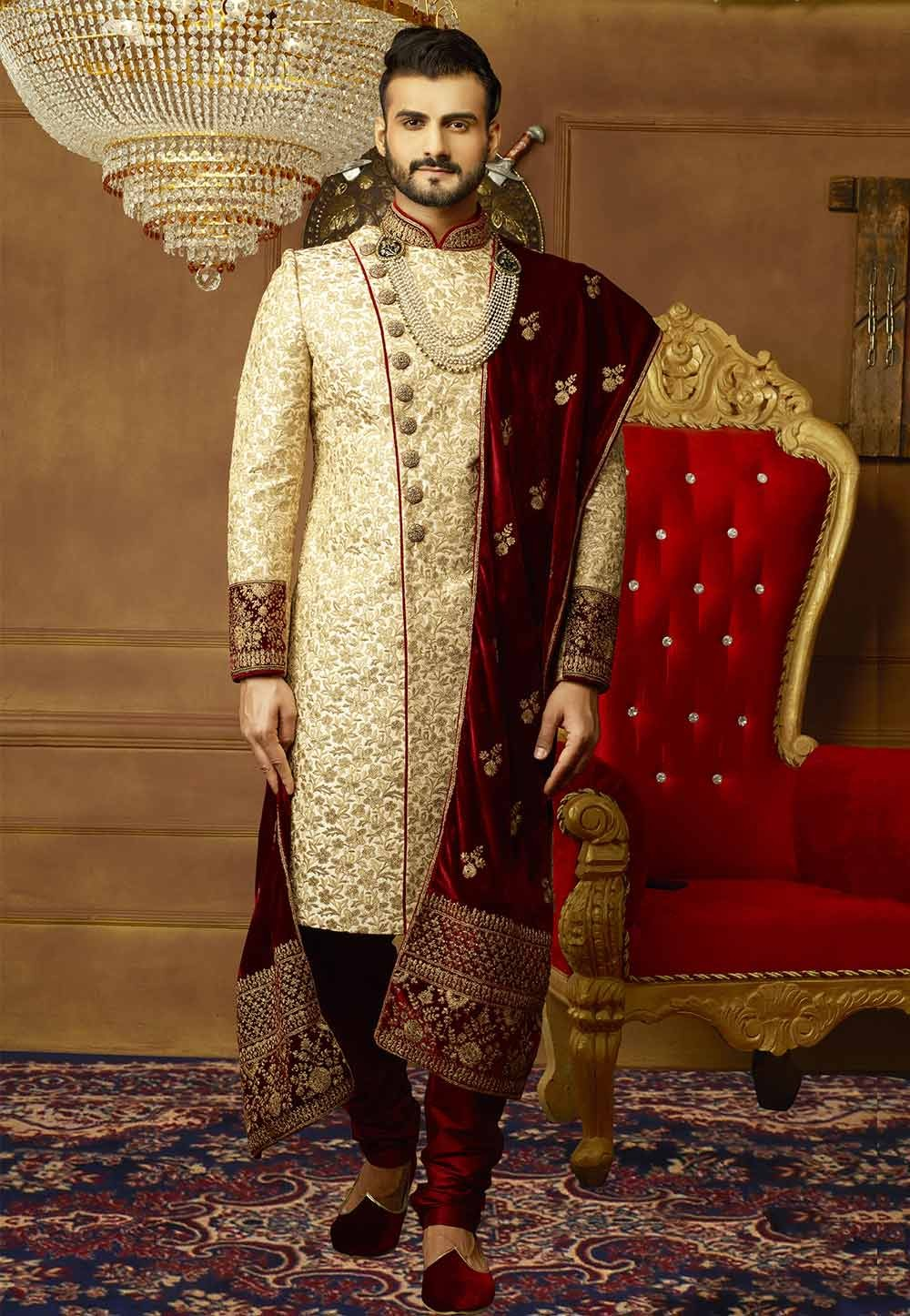 Buy indian designer sherwani in Golden Color