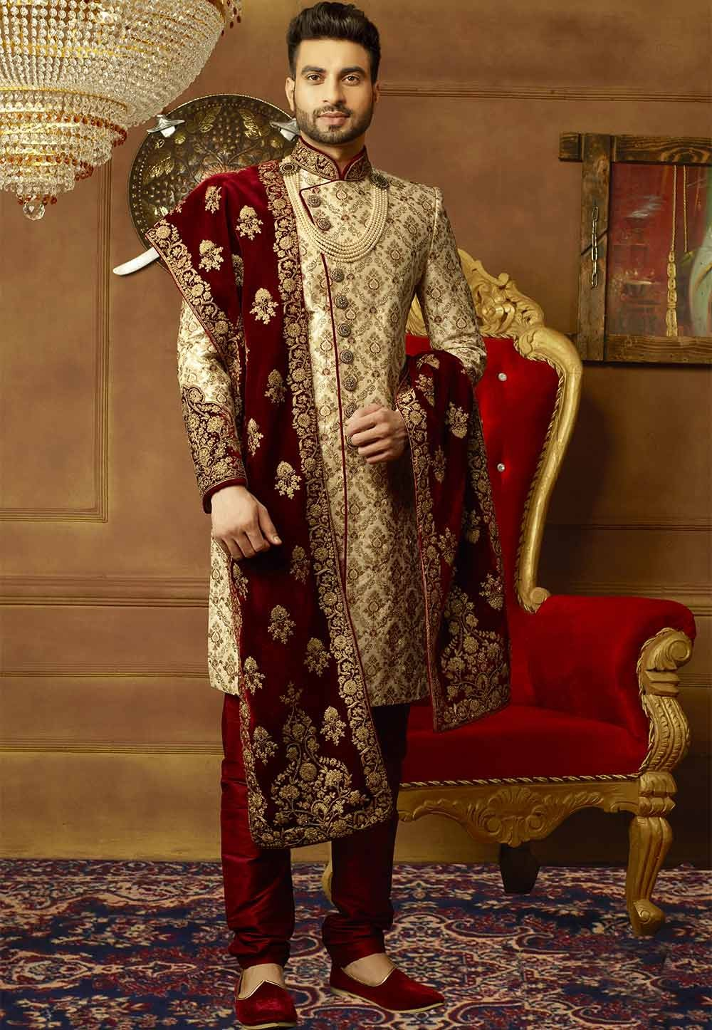 Buy designer sherwani in Golden Color for Wedding