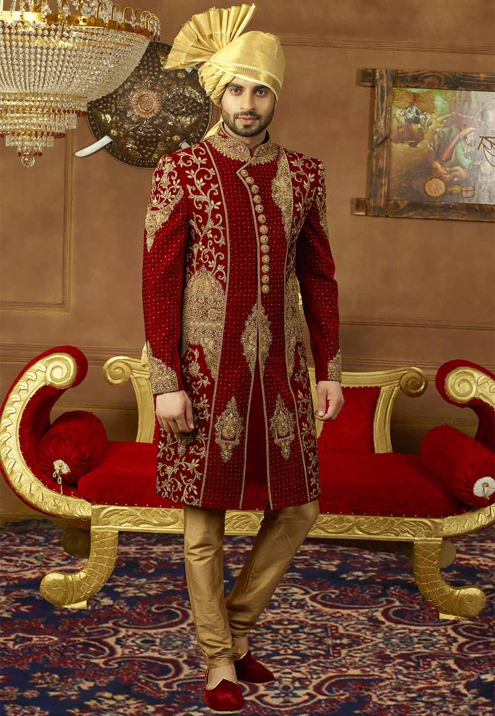 Buy designer sherwani in Maroon Color
