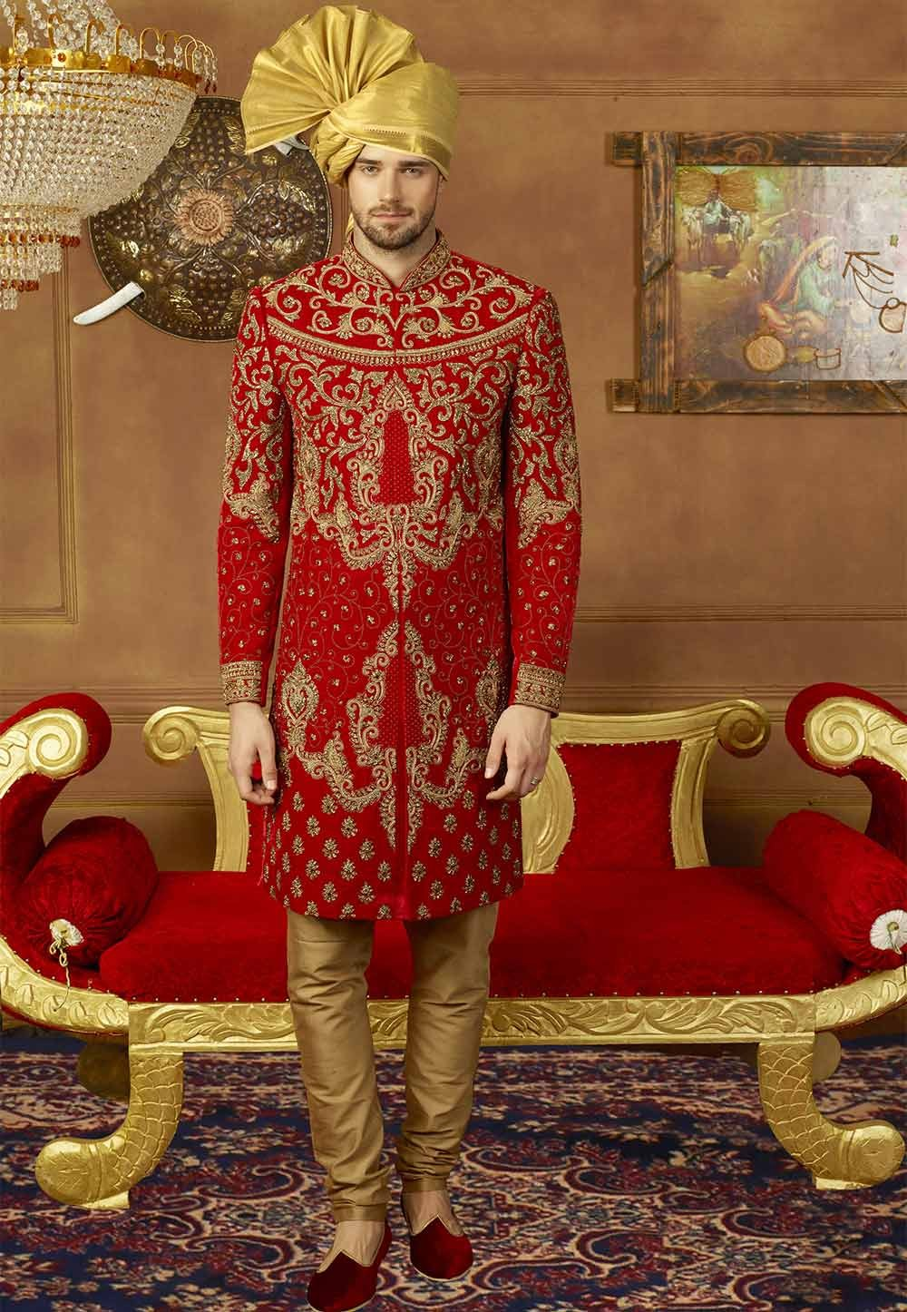 Buy designer sherwani in Red Colour for groom