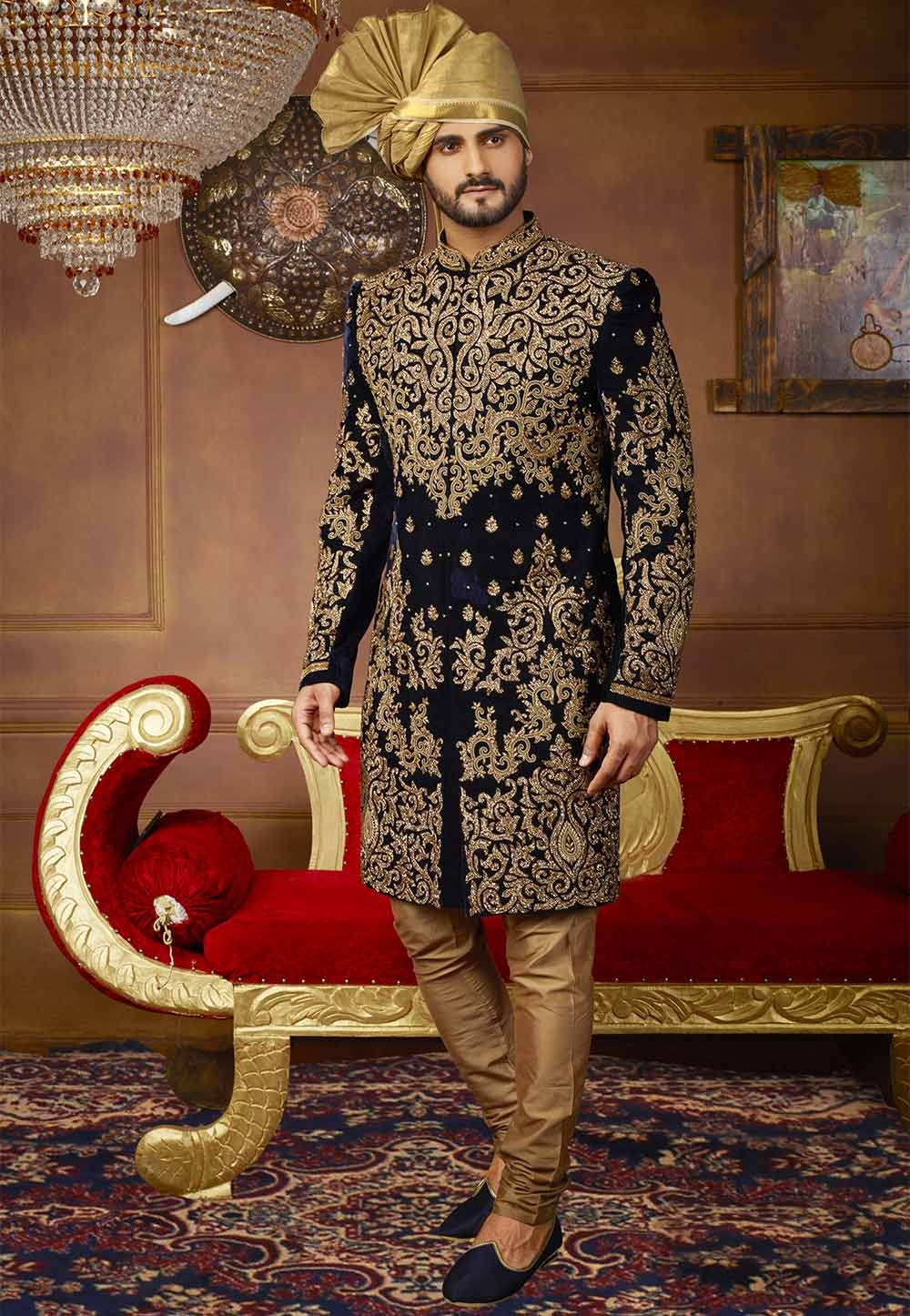 Buy designer Velvet sherwani in Blue Color for men