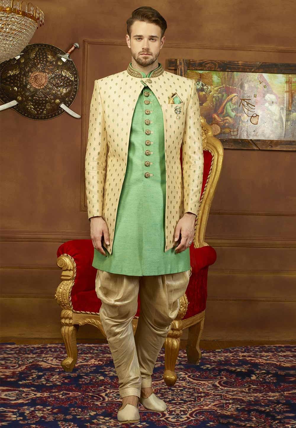 Beige,Green Color Men's Indowestern.