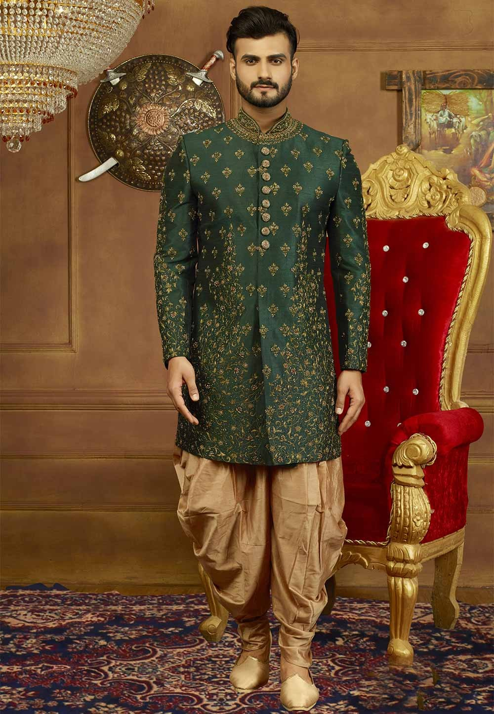 Green Color Men's Indowestern.