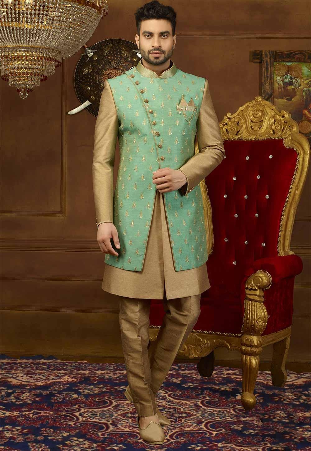 Green,Golden Color Men's Indowestern.