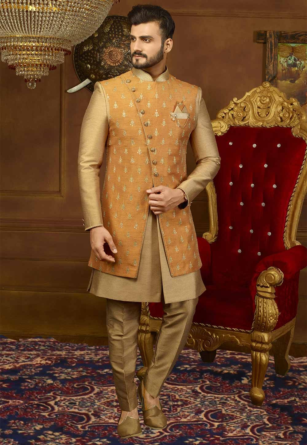 Rust,Golden Color Men's Indowestern.