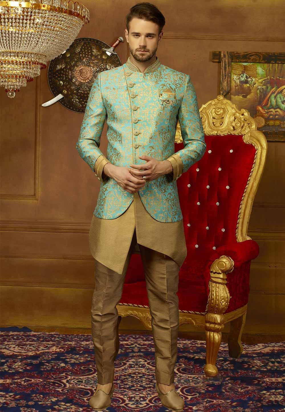 Green Color Brocade Silk Men's Indowestern.