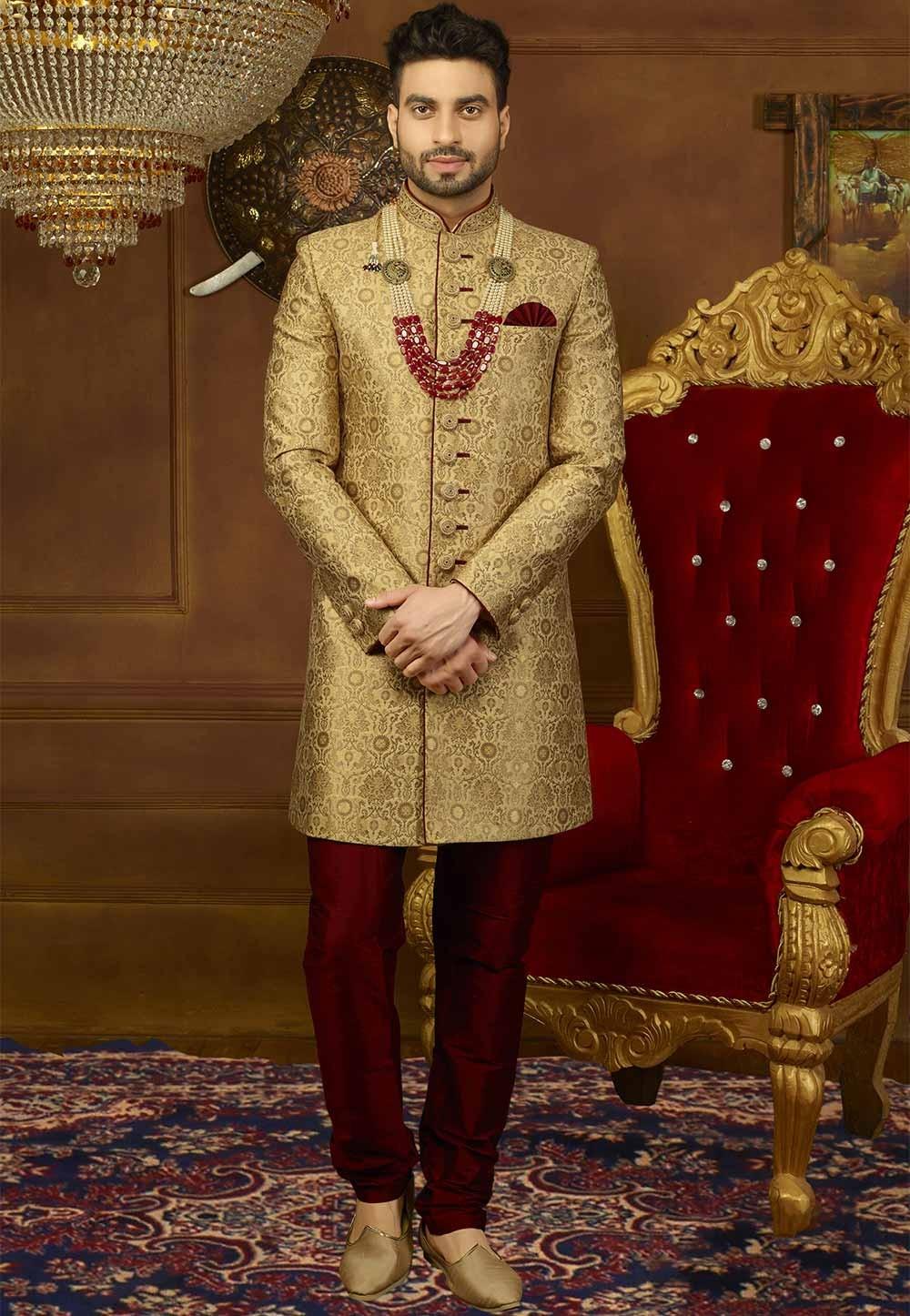 Golden Color Wedding Indowestern.