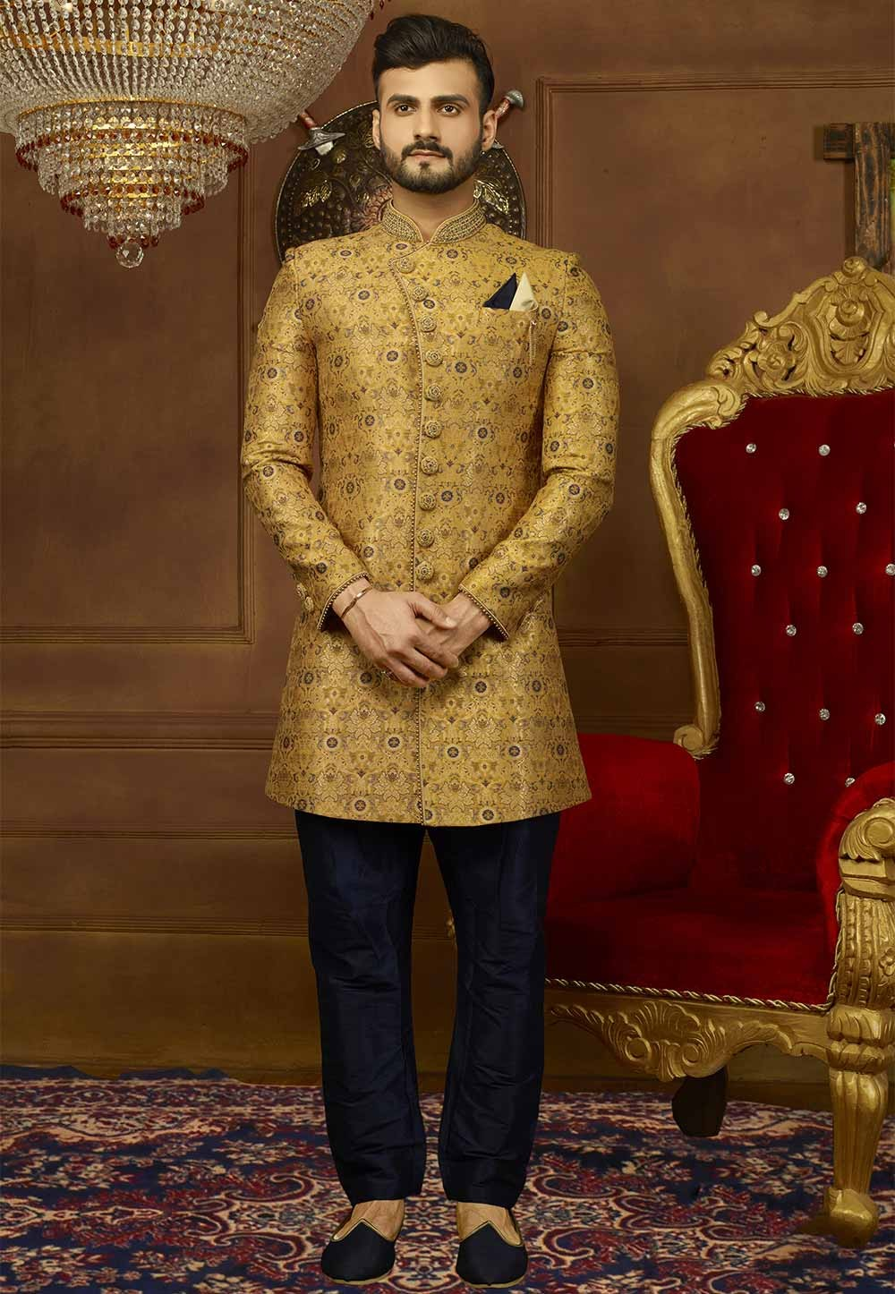 Yellow Color Designer Men's Indowestern.