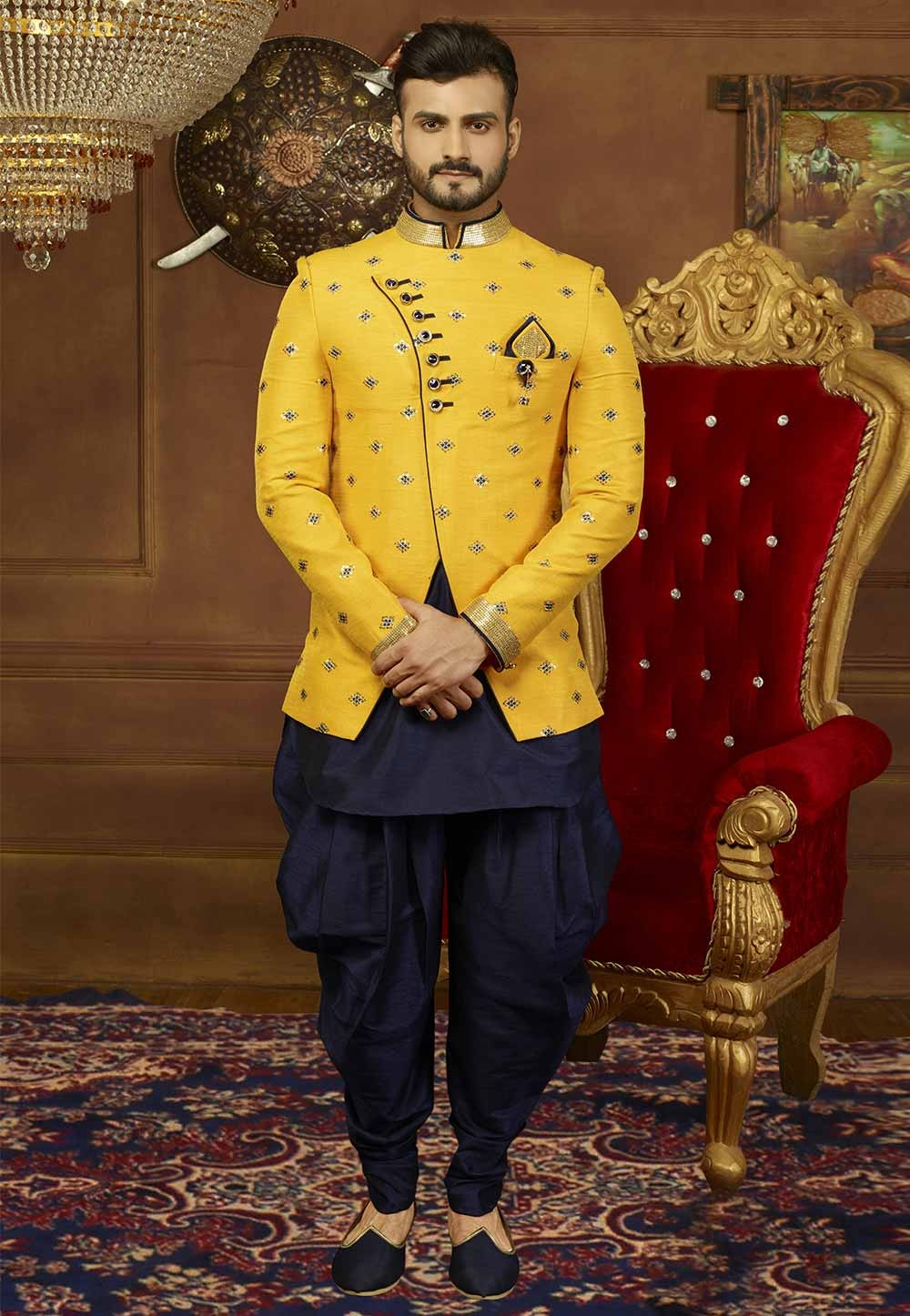 Yellow Color Banarasi Silk Men's Indowestern.
