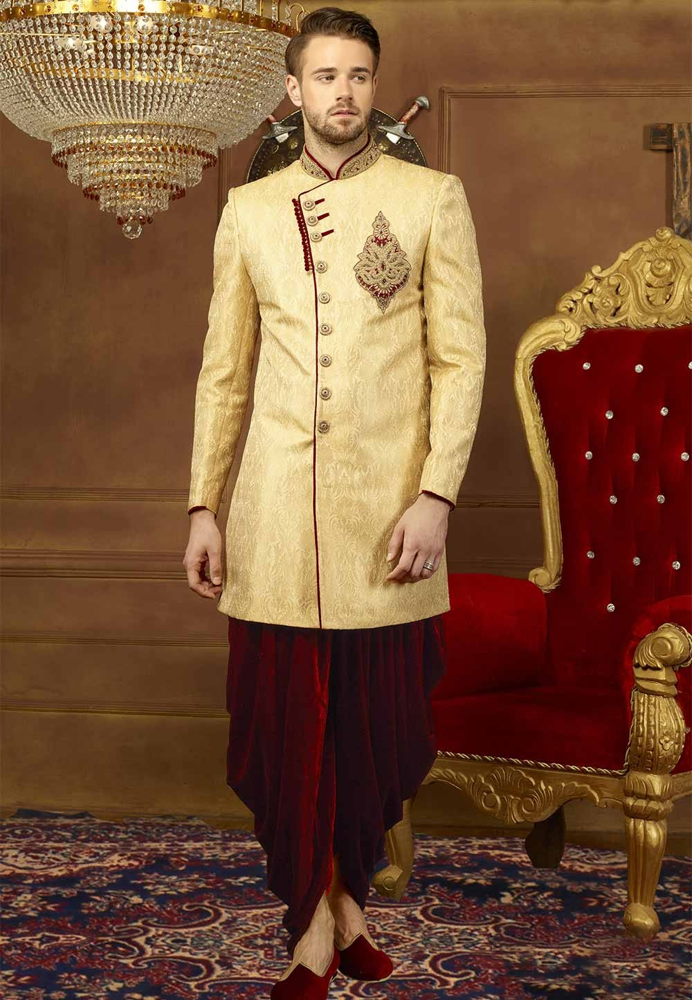 Golden Color Indo western suits for mens