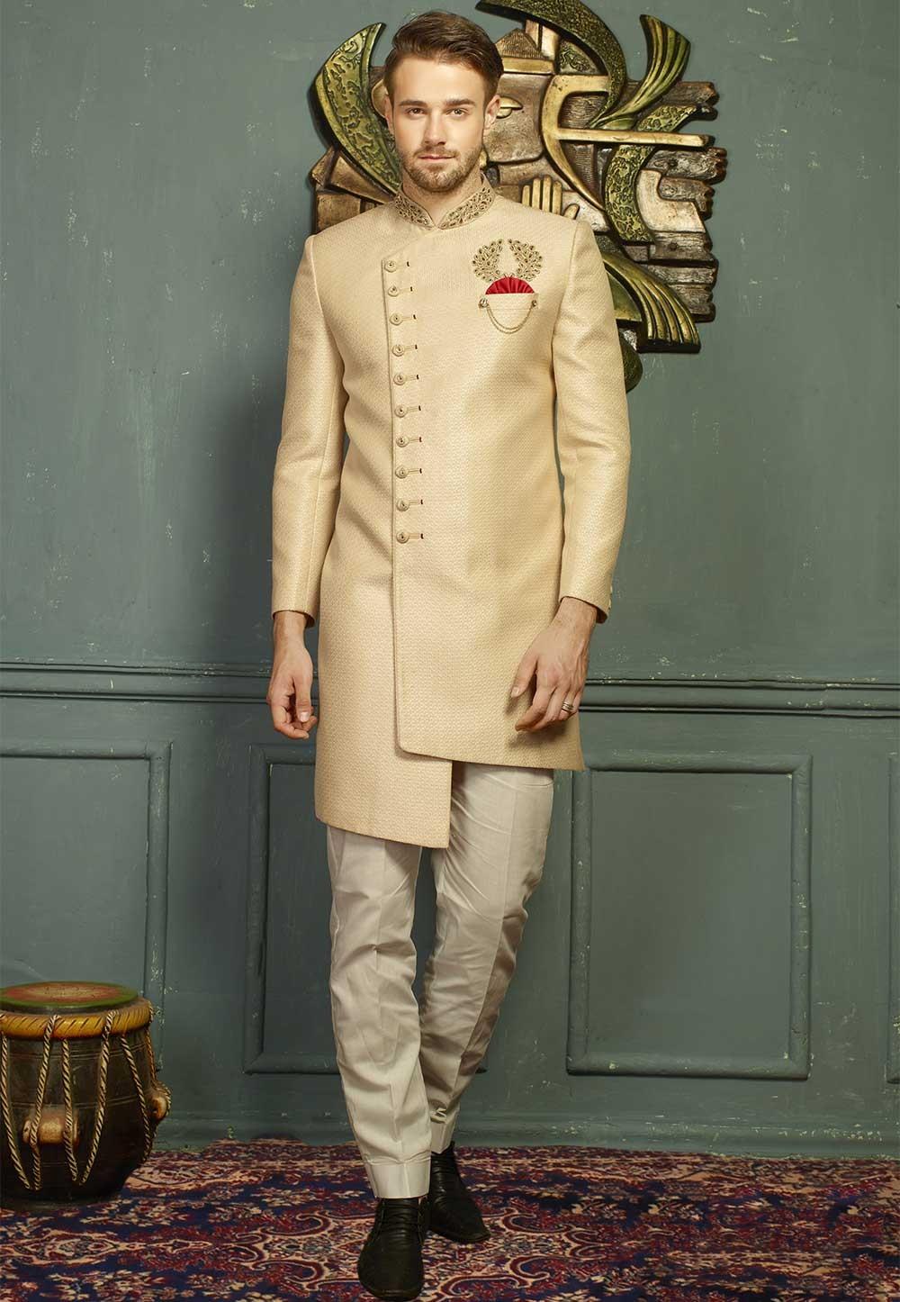 Beige Color Designer Indo western suits for men's