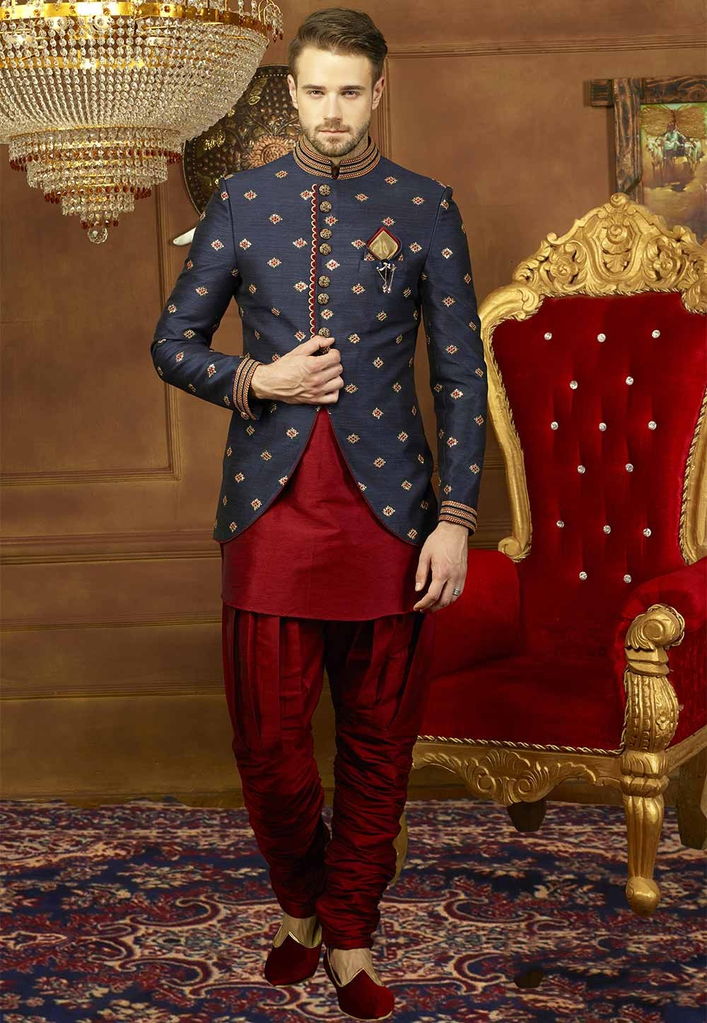 Blue Color Jodhpuri Suit: Buy Designer Jodhpuri Suits for mens