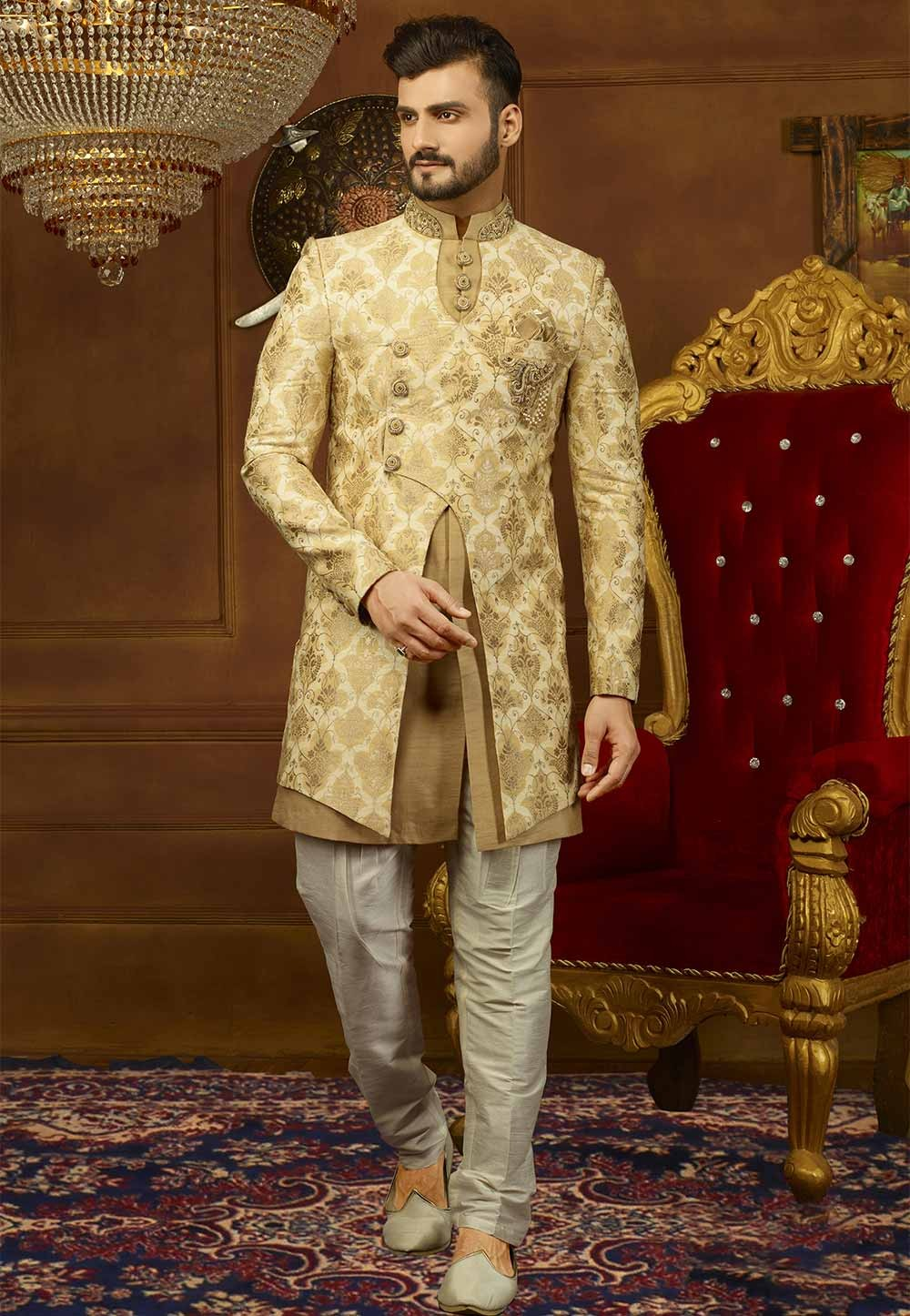 Golden,Beige Color Stylish Indo western suits for mens