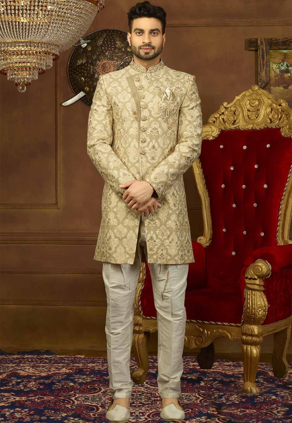 Cream Color Brocade Silk Indowestern suits for men