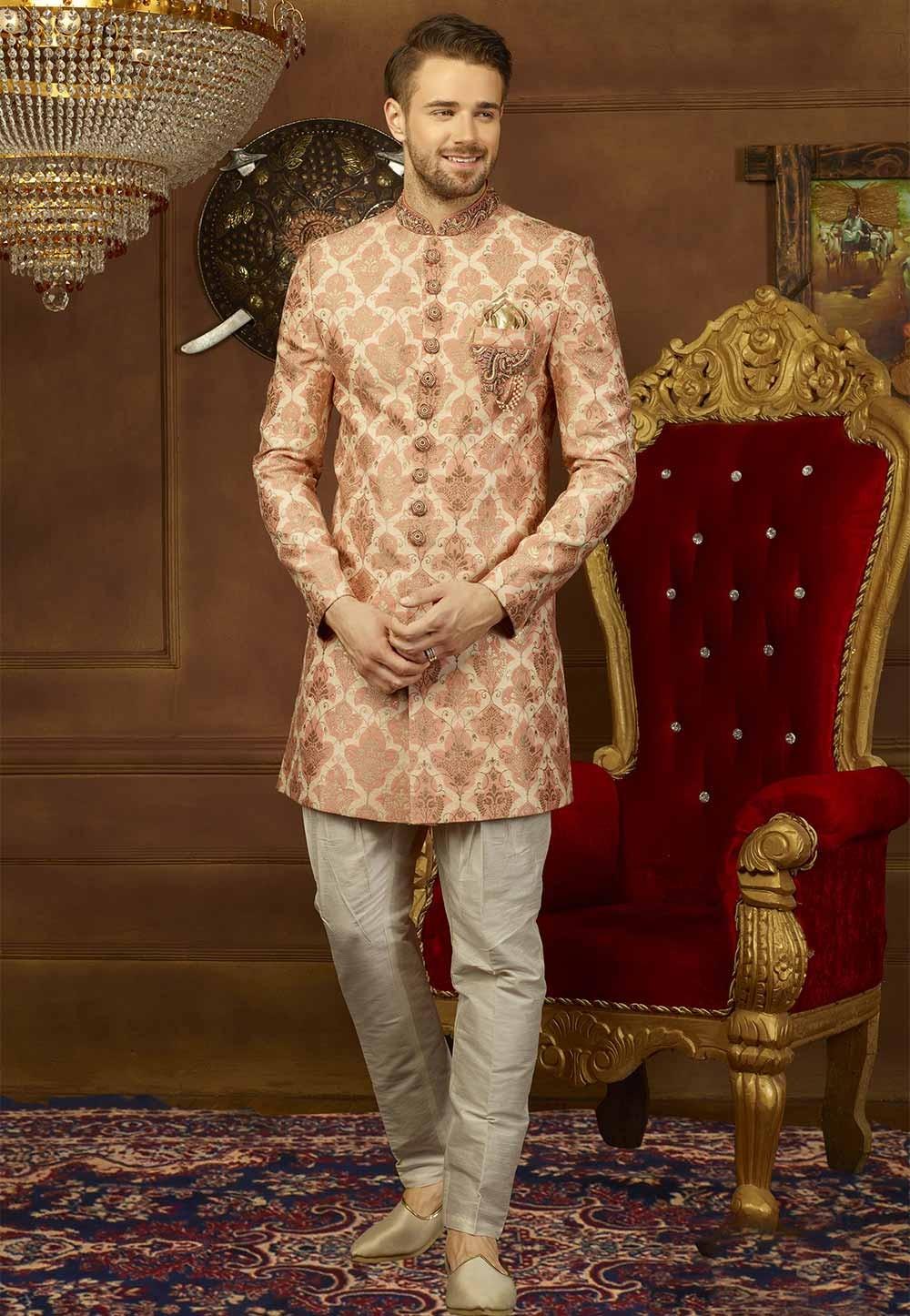 Peach Color Designer Indo western suit for mens