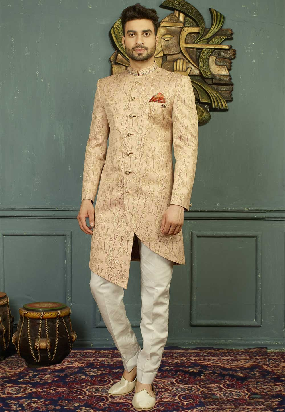 Peach Color Indo western dresses for men