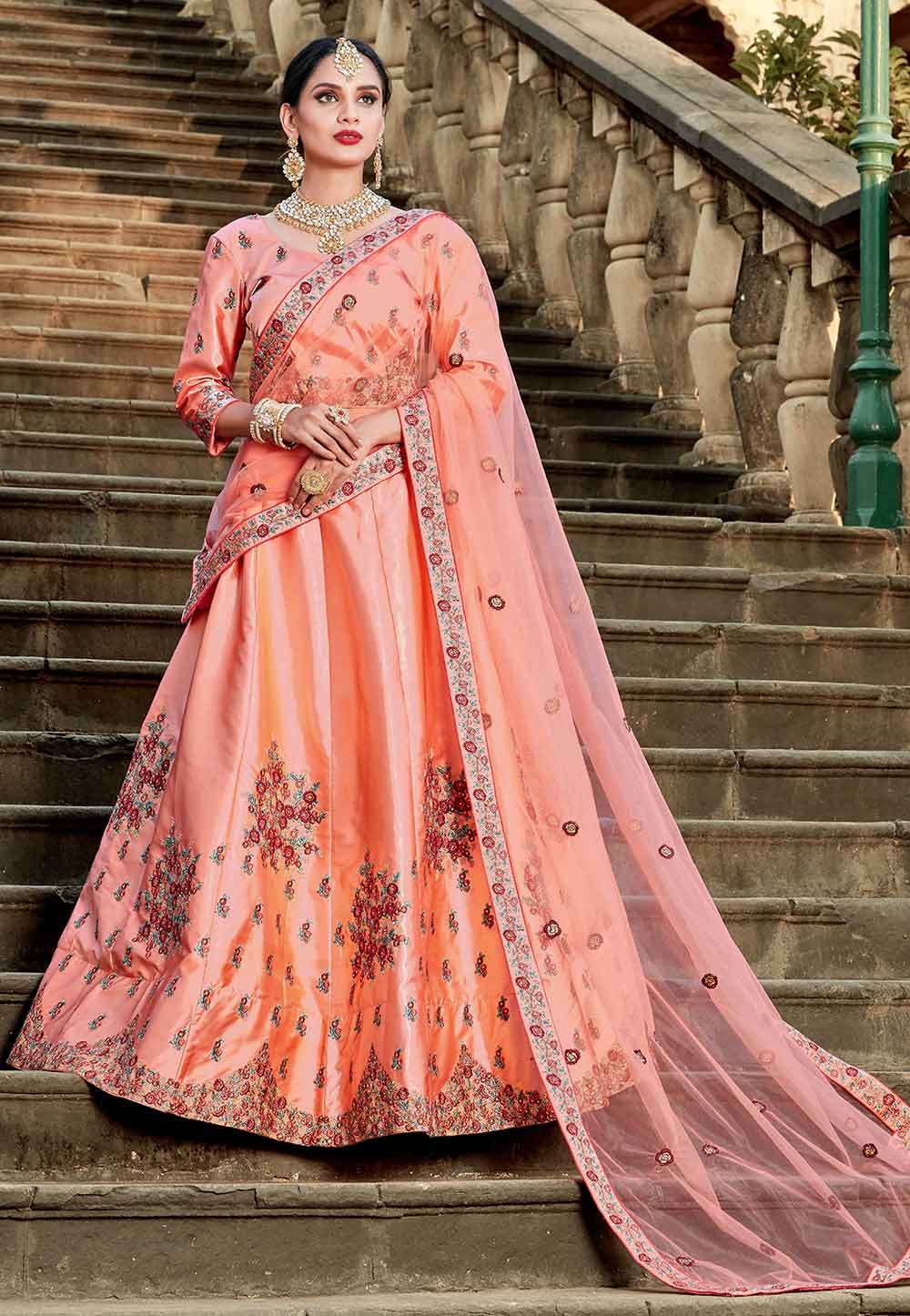 Peach Color Wedding Lehenga.