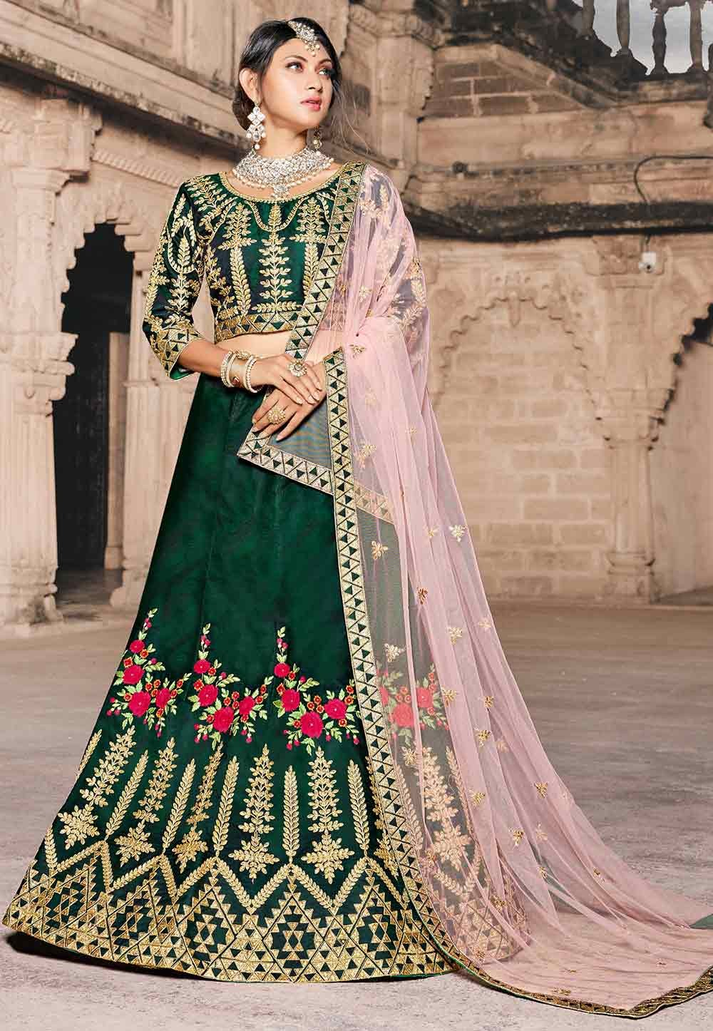 Green Color Bridal Lehenga.
