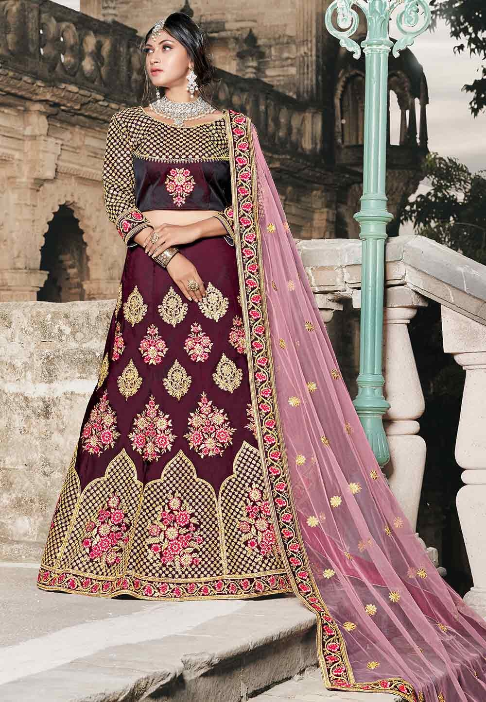 Wine Color Indian Designer Lehenga.