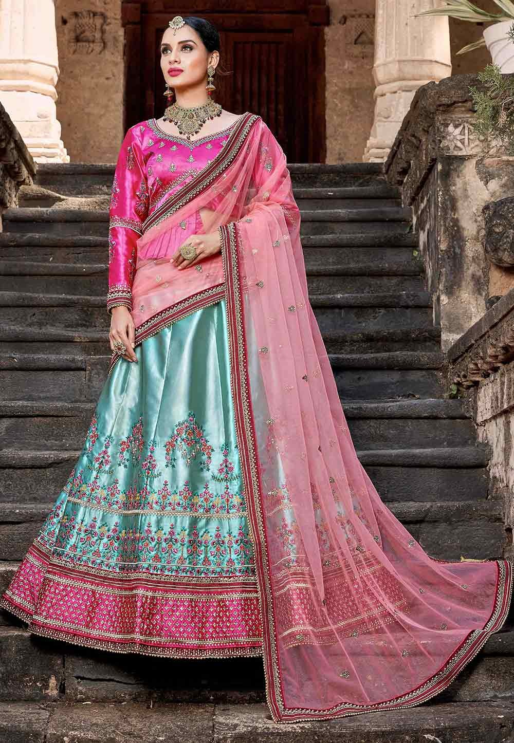 Blue,Pink Color Designer Lehenga Choli.