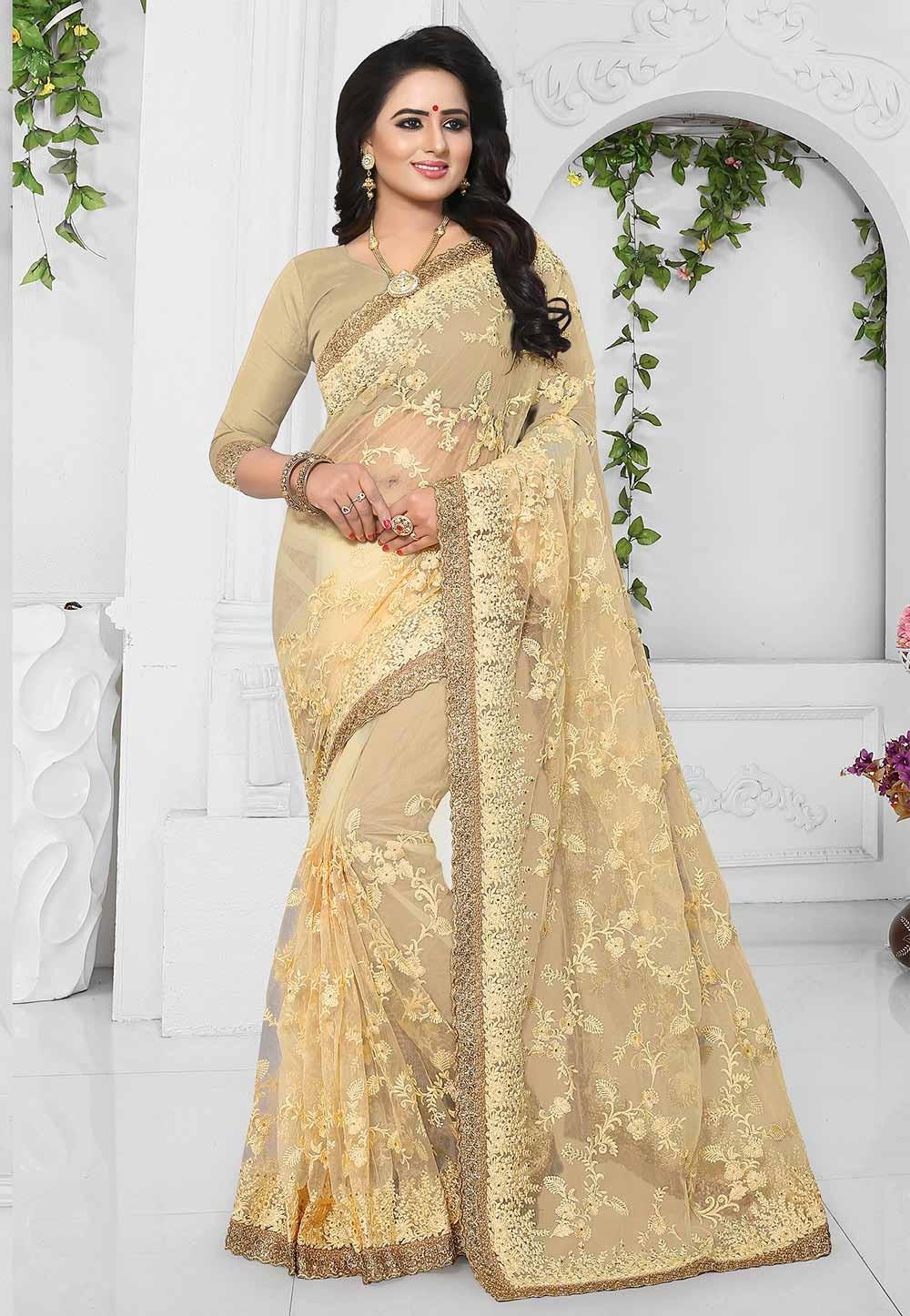 Buy Yellow,Beige Color Designer Sari Online