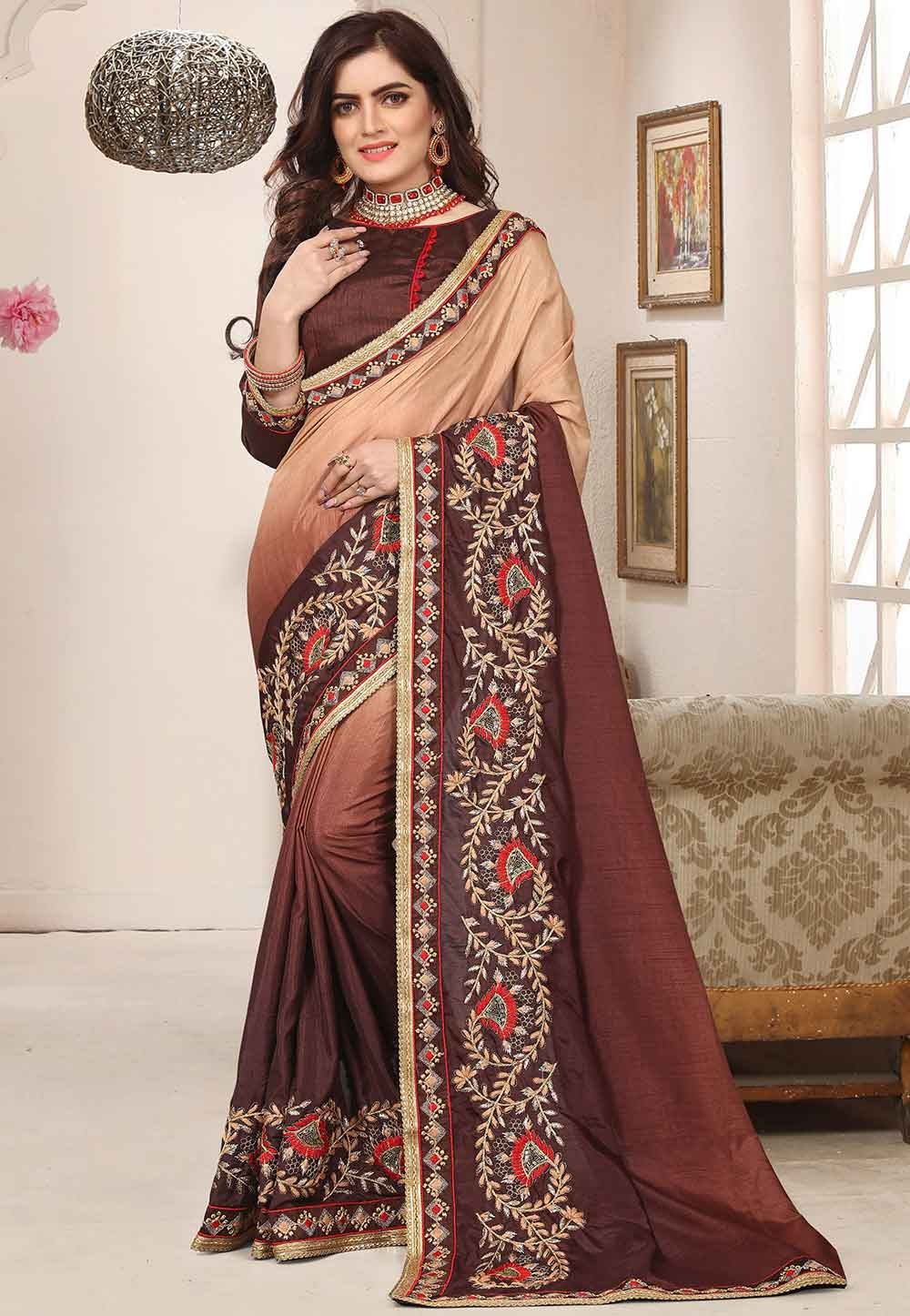 Brown Colour Silk Saree.