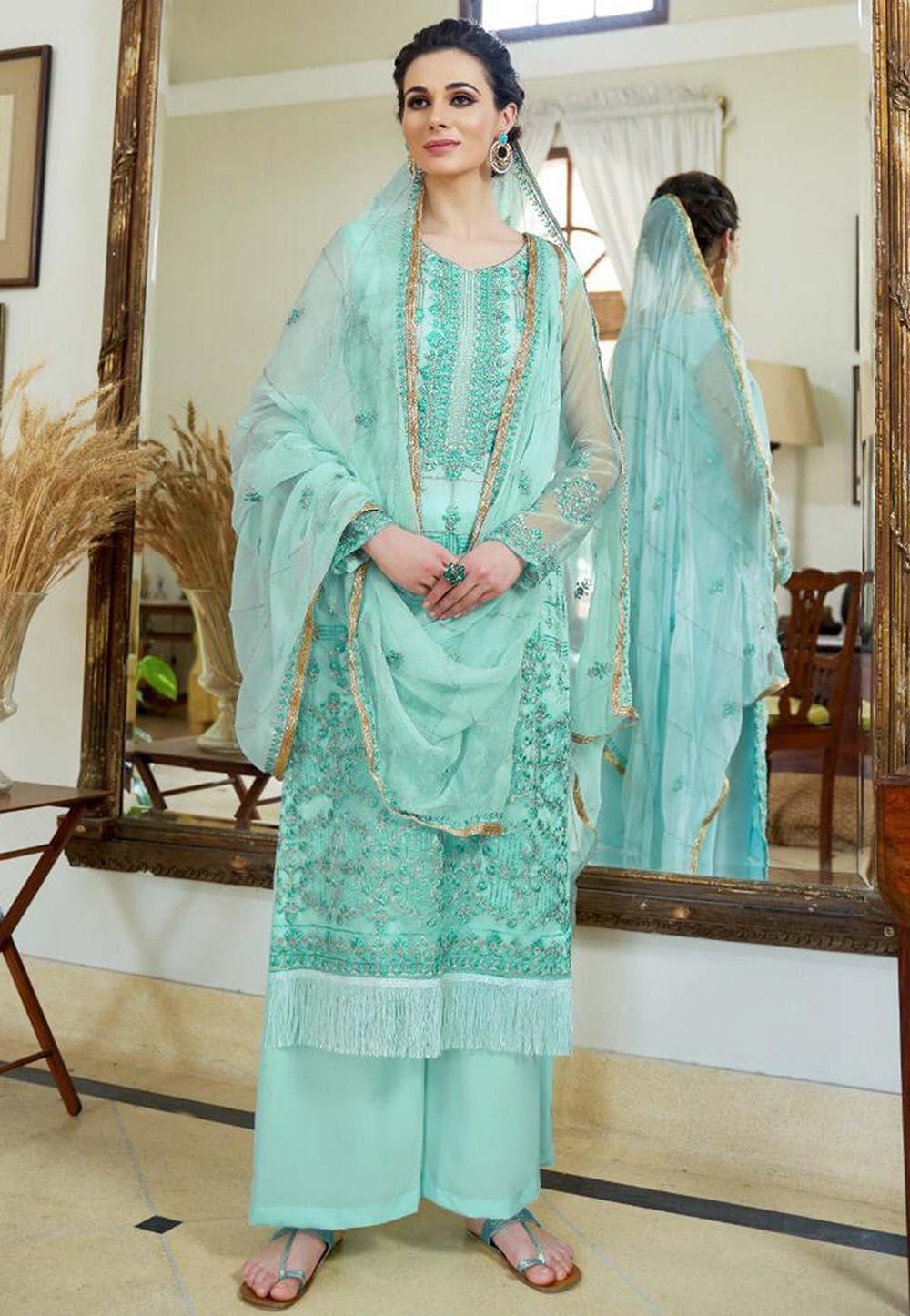 Turquoise Color Silk Salwar Suit.