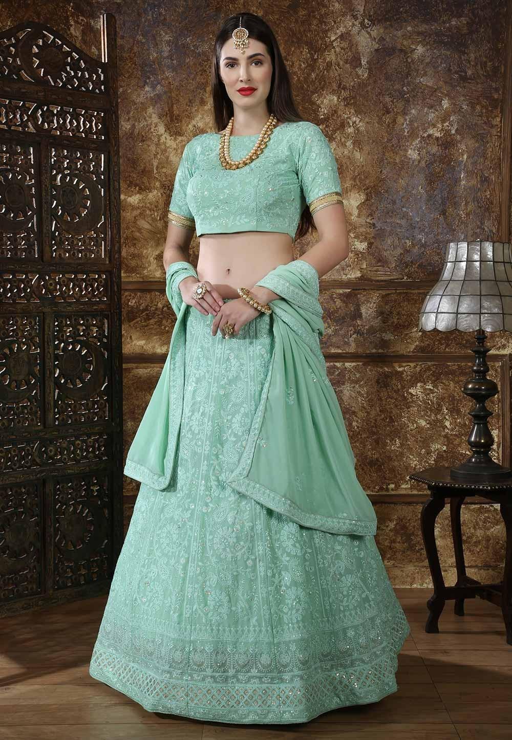 Green Color Indian Designer Lehenga.
