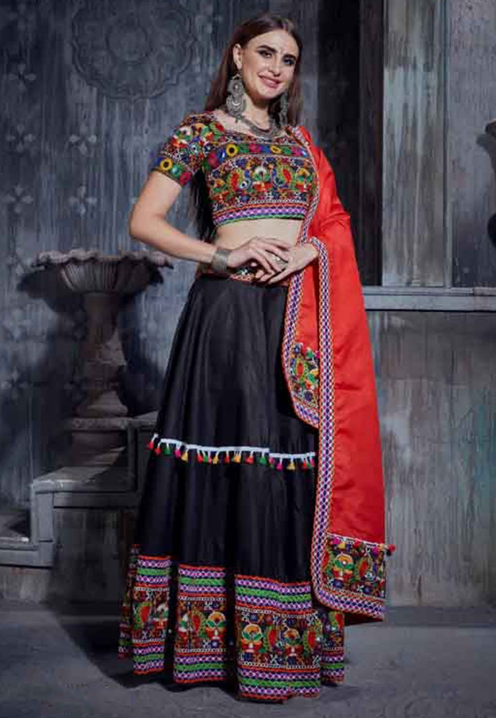 Black Colour Printed Lehenga Choli.