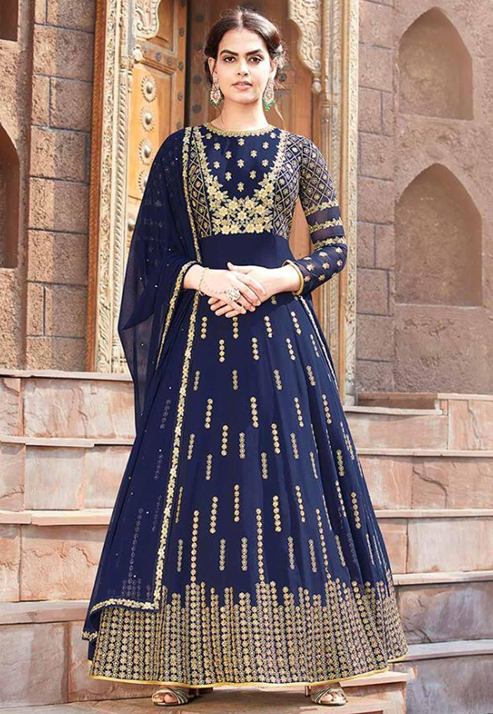 Navy Blue Colour Georgette Salwar Suit.