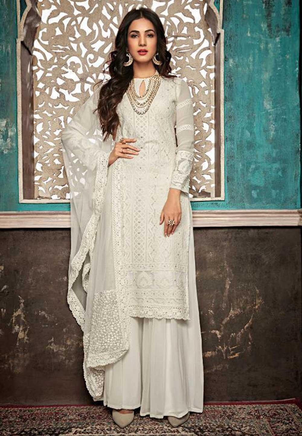Designer Salwar Suit in Off White Colour.