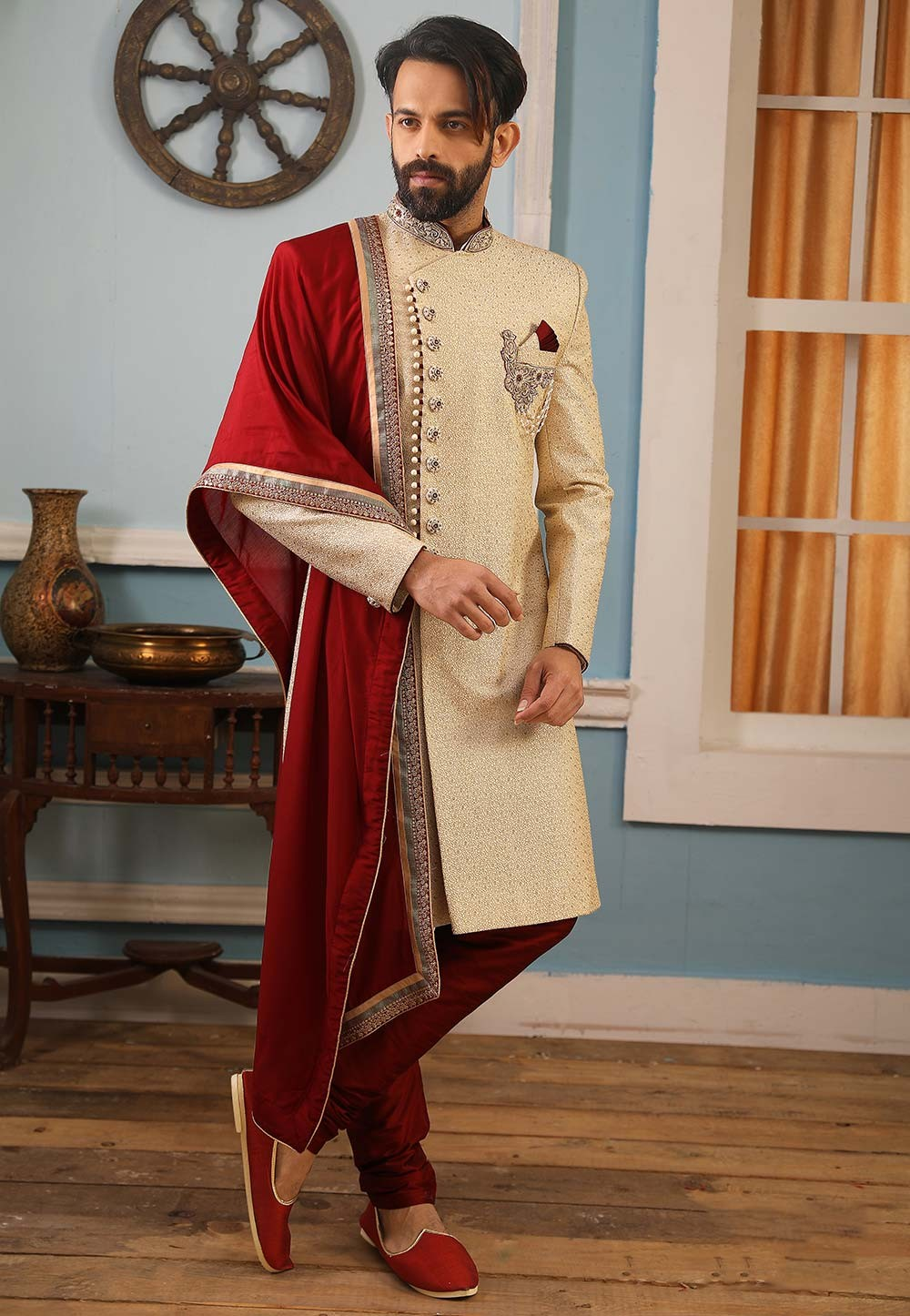 Cream Colour Banarasi Silk Indian Sherwani.