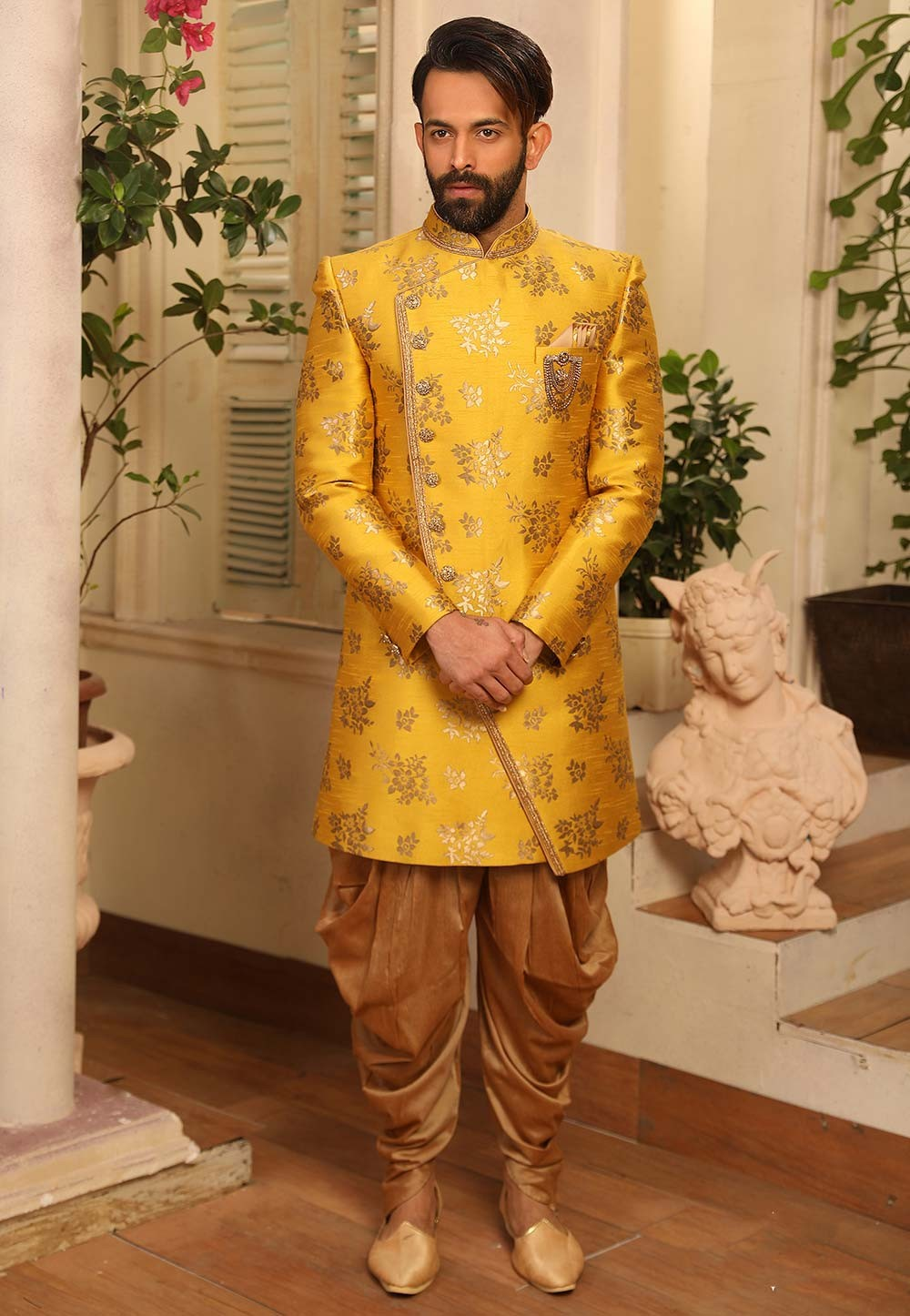 Exclusive Designer Men's Indowestern in Yellow Colour.