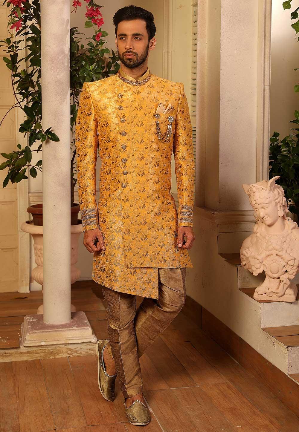 Yellow Colour Party Wear Men's Indowestern.