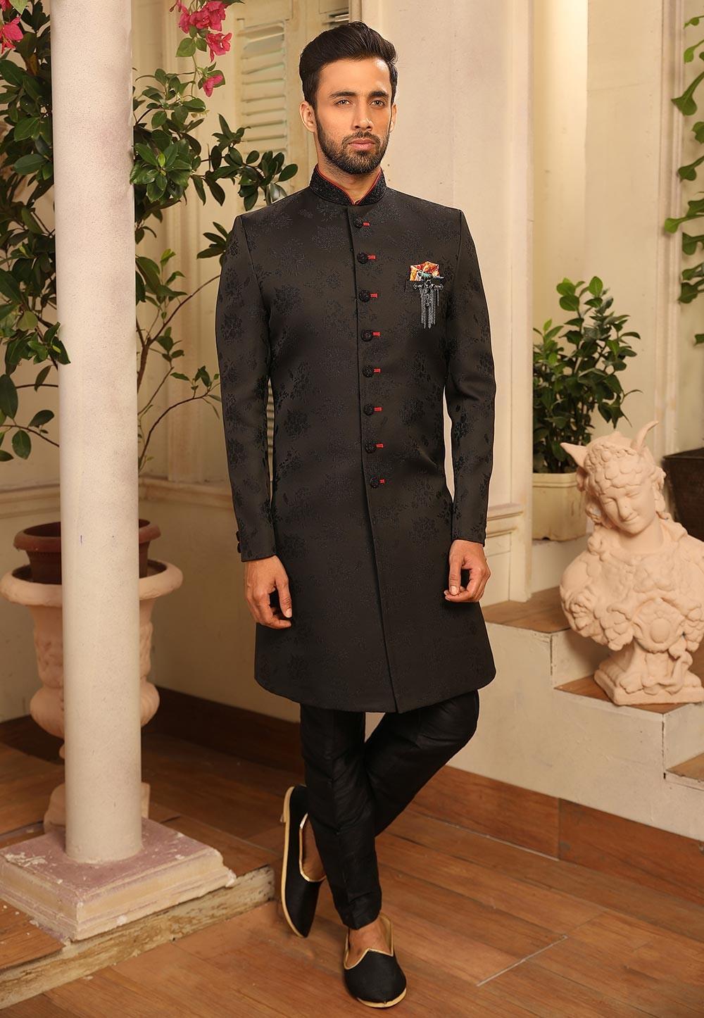 Black Colour Party Wear Men's Indowestern.