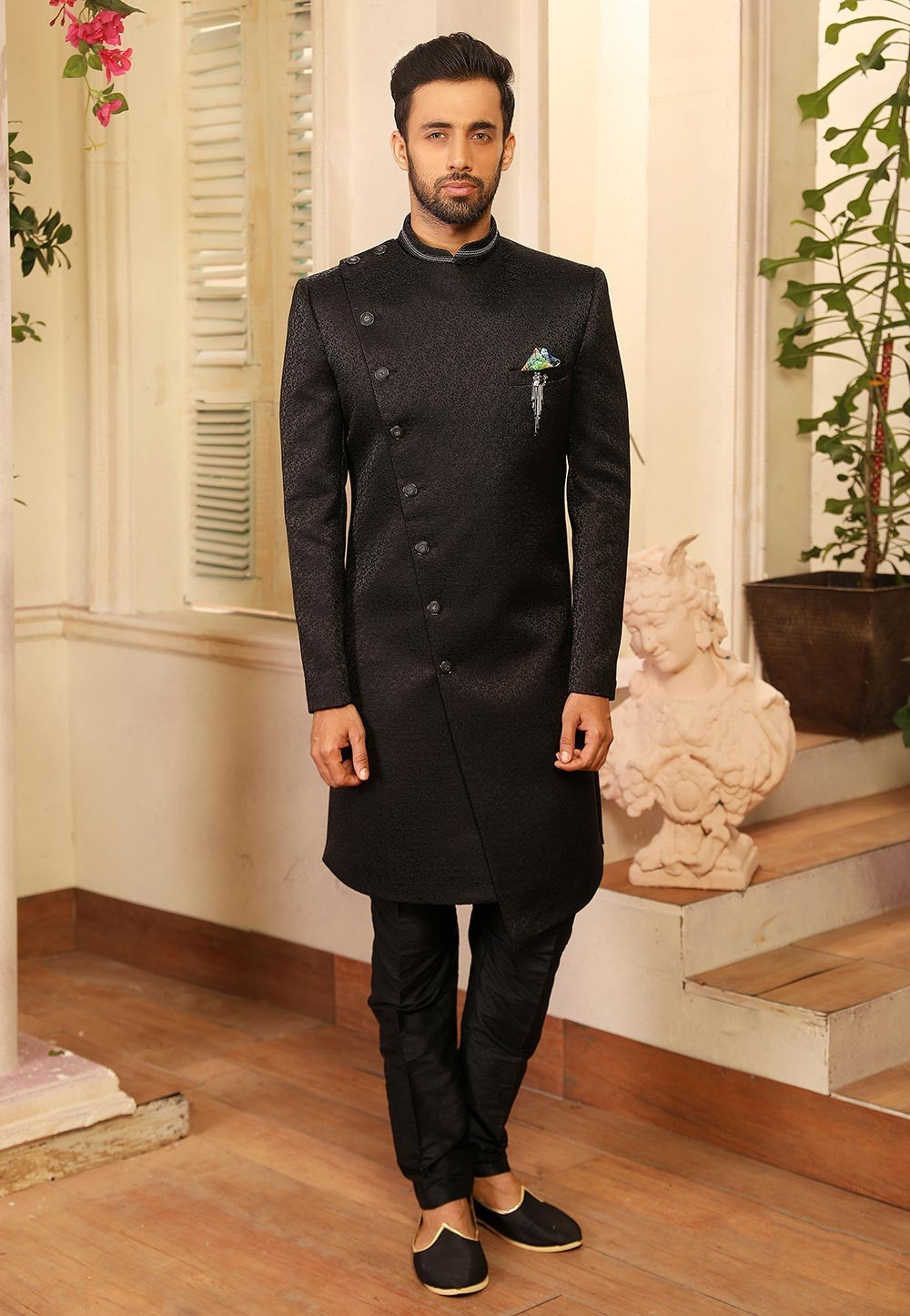 Black Colour Nawabi Style Indo Sherwani.