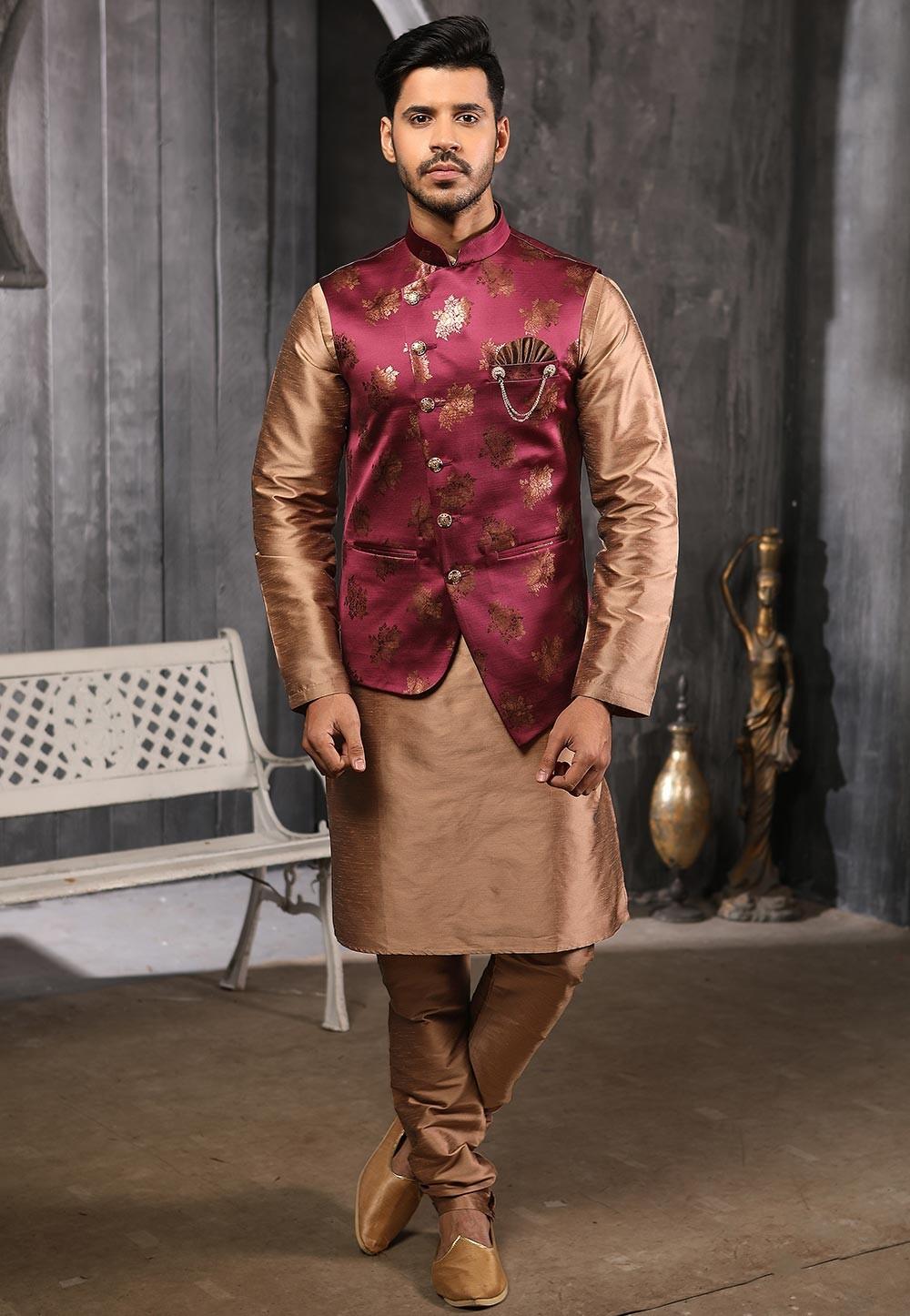 Magenta,Brown Colour Kurta Pajama Jacket.