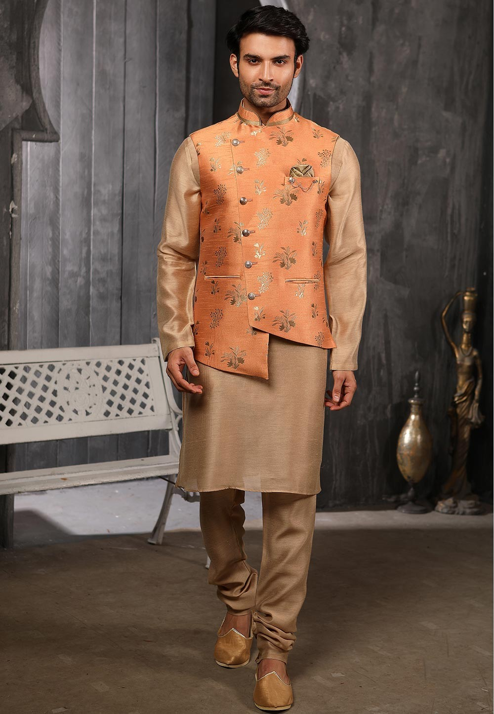 Peach,Brown Colour Traditional Kurta Pyjama.