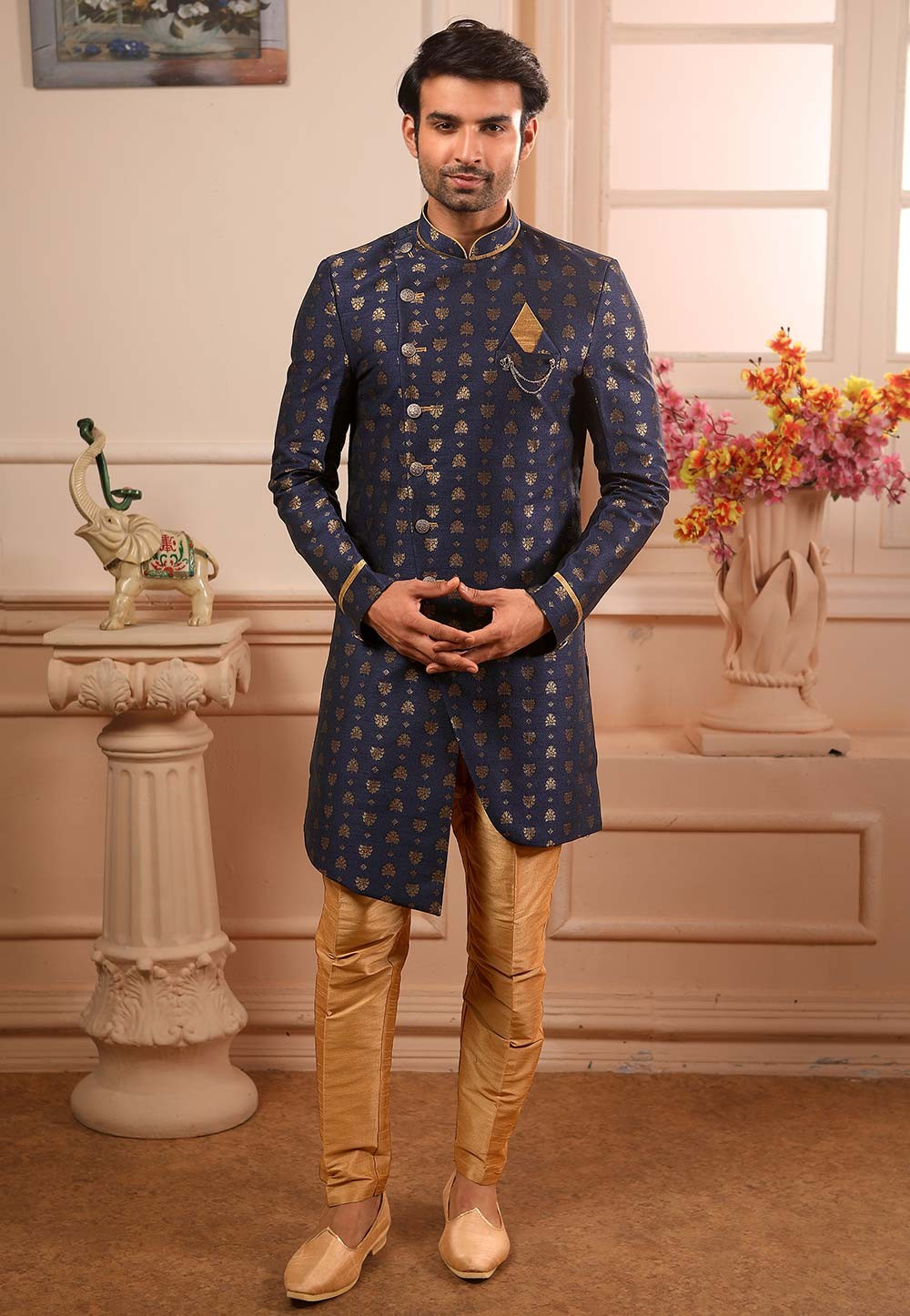 Indowestern Kurta Pajama in Blue Colour.