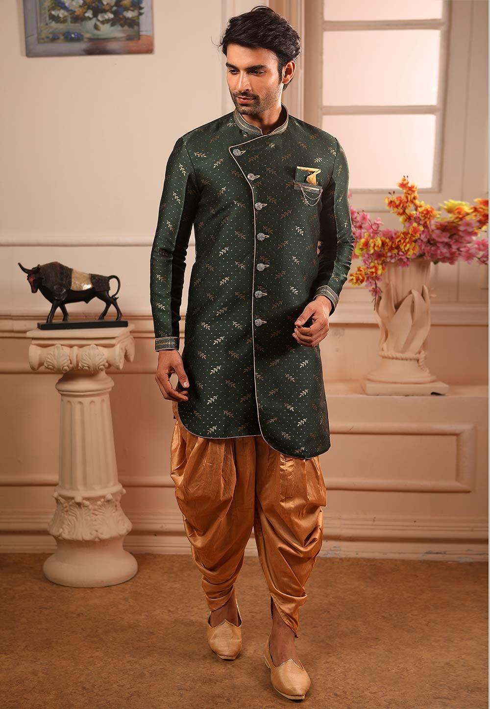 Green Colour Brocade Silk Indowestern.