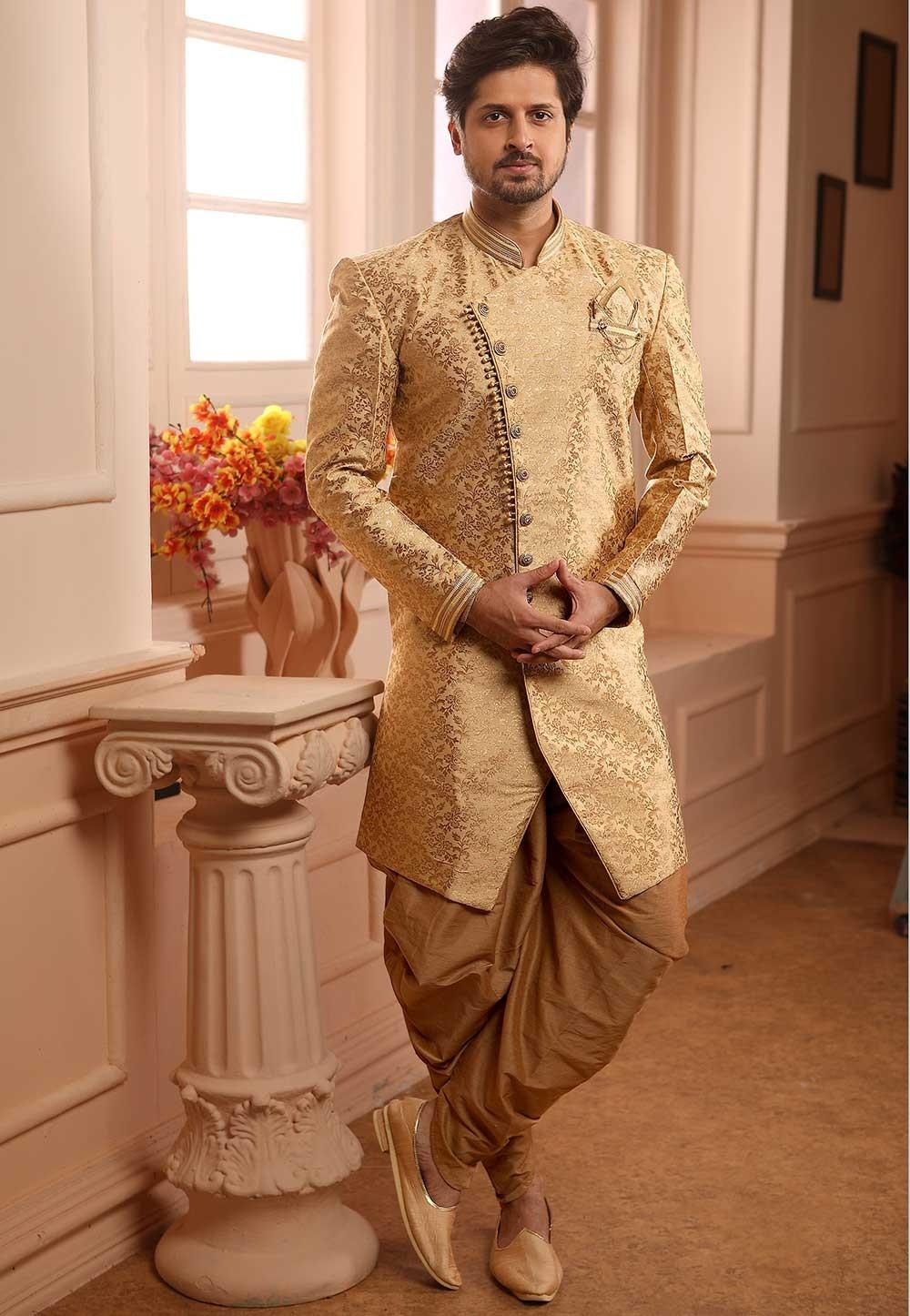 Wedding Semi Indowestern Golden Colour.
