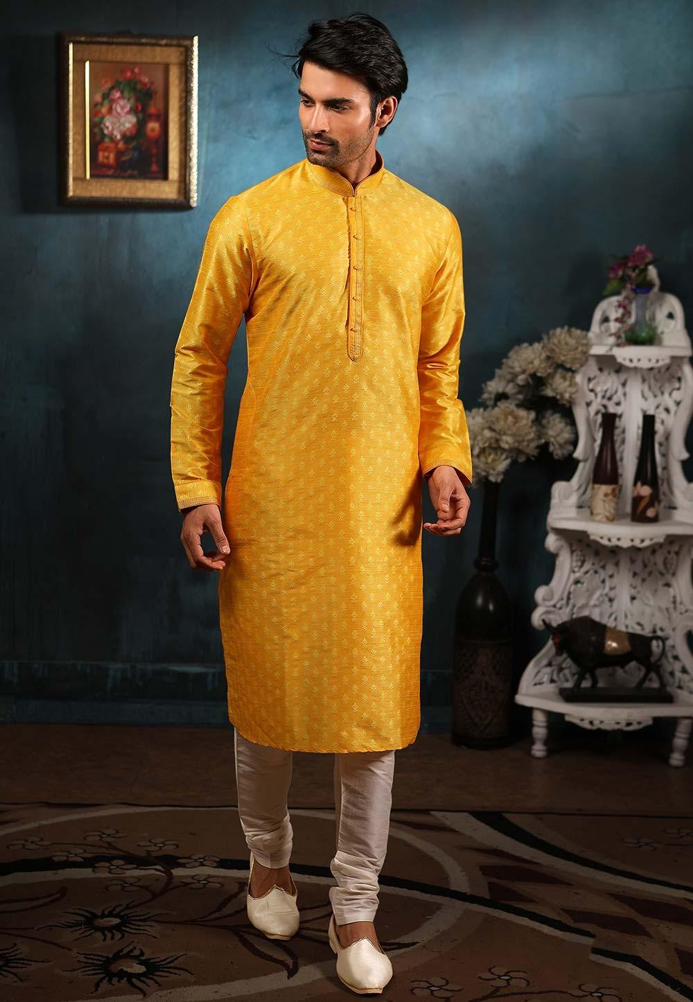 Yellow Colour Indian Wedding Kurta Pajama.