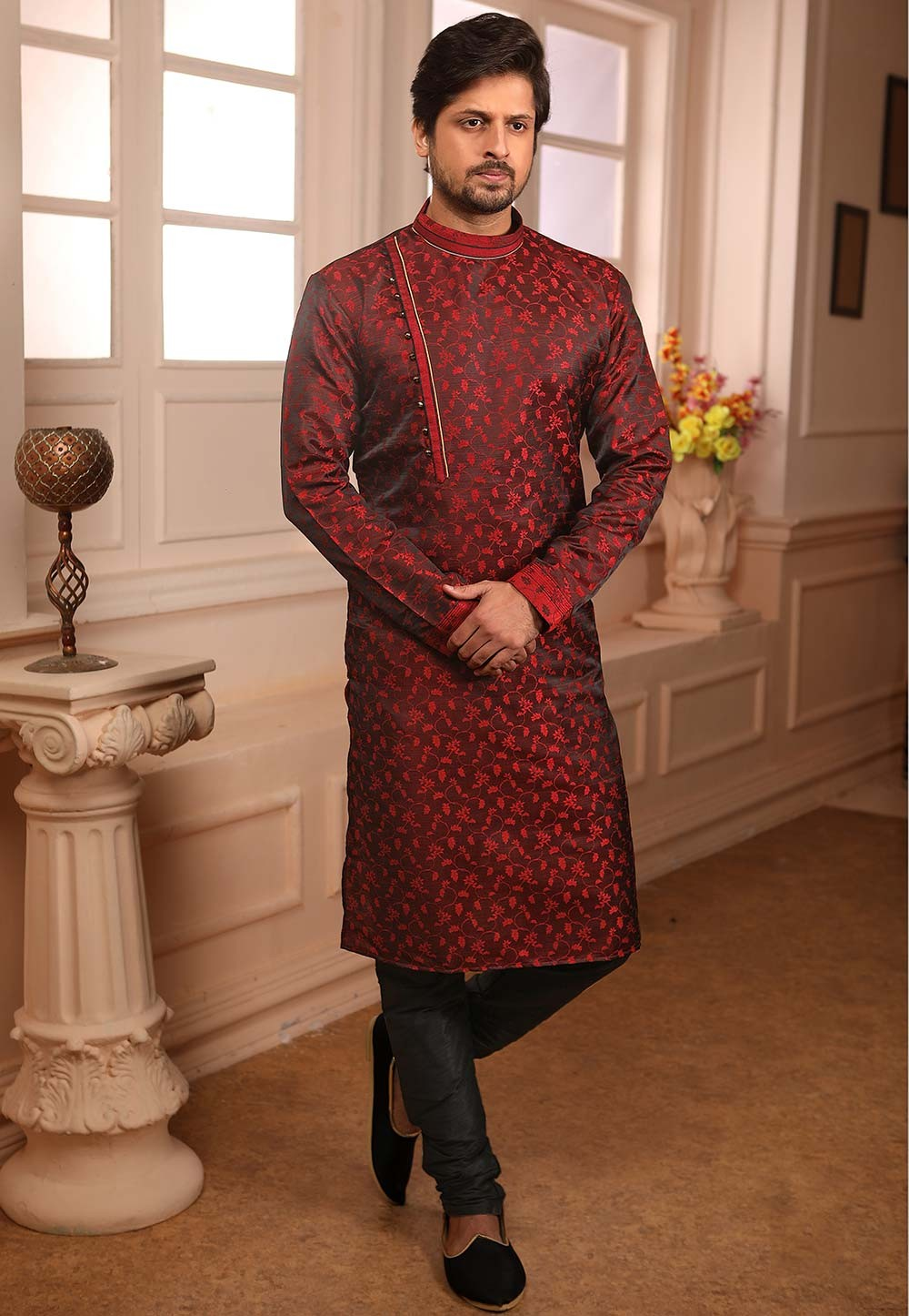 Wine Colour Party Wear Kurta Pajama.