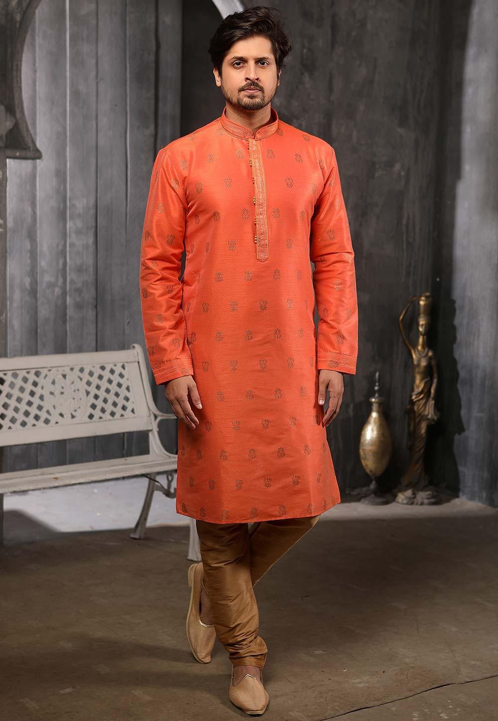 Wedding Kurta Pajama Rust Colour.