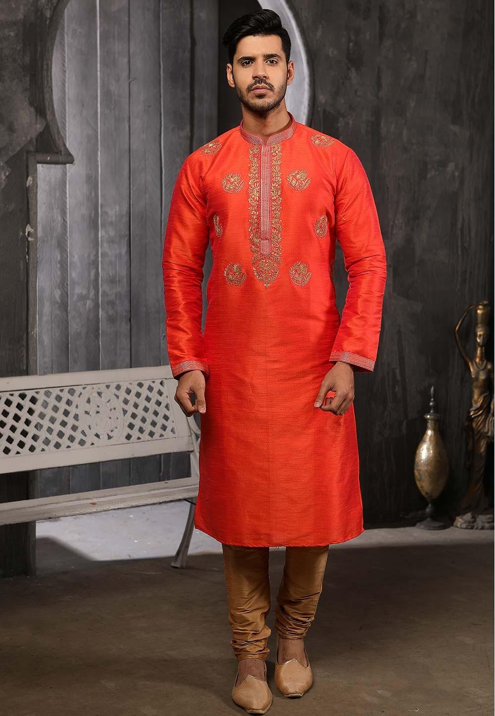 Orange Colour Indian Designer Kurta Pajama.