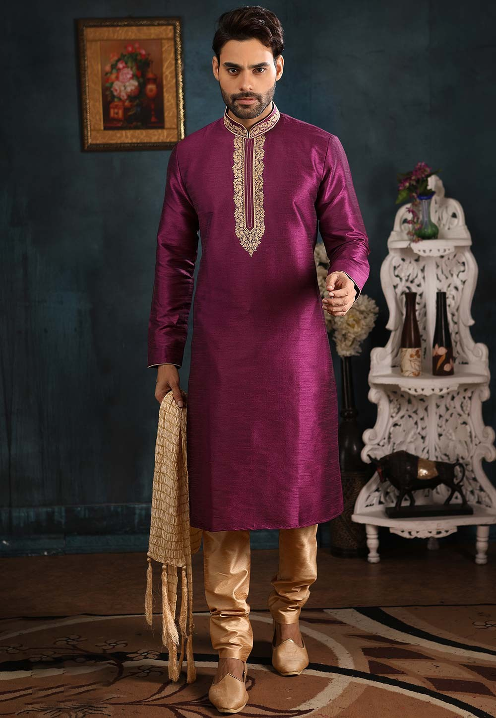 Designer Men's Wear Kurta Pajama Magenta Colour.