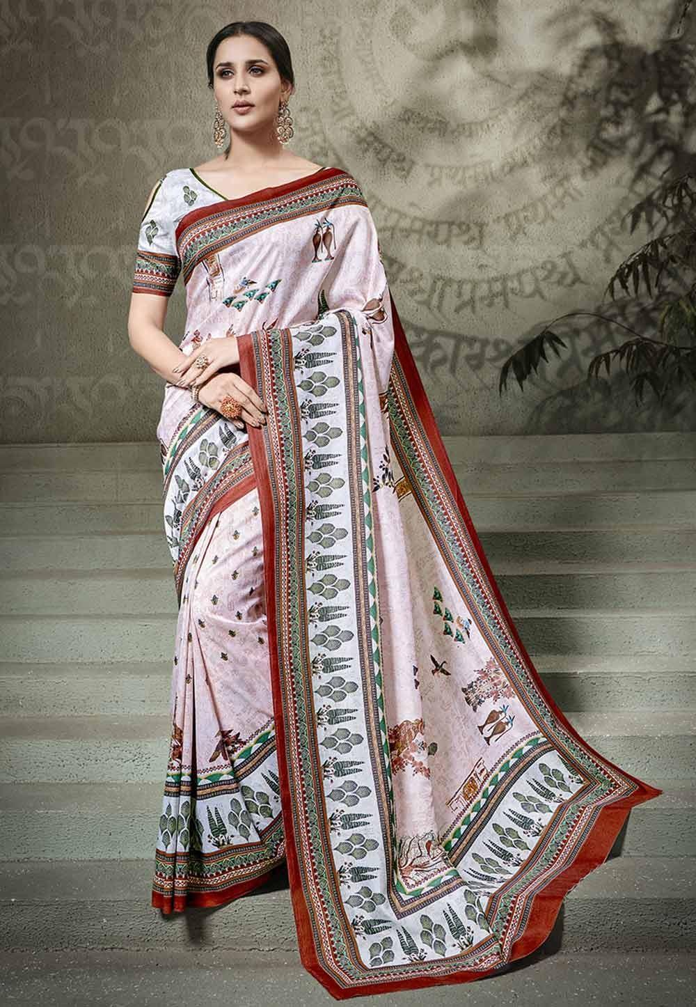 Pink Colour Printed Saree.